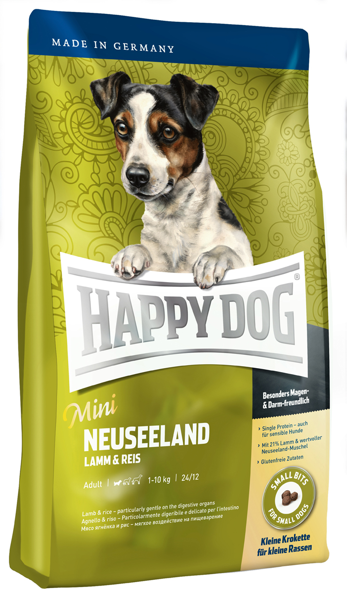 Корм сухой Happy Dog Новая Зеландия для собак мелких пород, ягненок с рисом, 4 кг60115Happy Dog Новая Зеландия - необыкновенно вкусный и прекрасно усваиваемый полнорационный корм класса супер-премиум, который содержит 21% мяса ягненка и приготавливается с добавлением ценного зеленого новозеландского моллюска. Очень маленькие крокеты идеально подходят для всех маленьких лакомок, которые любят нестандартный корм или очень разборчивы в еде. Этот корм - оптимальный вариант для целенаправленного кормления чувствительных собак мелких пород. Корм содержит тщательно отобранные компоненты, готовится особенно бережно и отличается оптимизированным уровнем белков и калорий. Состав: ягненок (21%), рисовая мука (21%), рис (14,5%), кукуруза, кукурузная мука, птичий жир, гидролизат печени, свекольная пульпа, яблочная пульпа (0,8%), масло из семян подсолнечника, рапсовое масло, сухое цельное яйцо, хлорид натрия, дрожжи, хлорид калия, морские водоросли (0,15%), семя льна (0,15%), мясо моллюска (0,05%), расторопша, артишок, одуванчик, имбирь, березовый лист, крапива, ромашка, кориандр, розмарин, шалфей, корень солодки, тимьян, дрожжи (экстрагированные), (общий объем трав: 0,14 %).Аналитический состав: сырой протеин 24%, сырой жир 12%, сырая клетчатка 3%, сырая зола 7,5%, кальций 1,6%, фосфор 1,05%, натрий 0,35%, Омега - 6 жирные кислоты 2,8%, Омега - 3 жирные кислоты 0,3%.Витамины/кг: витамин А 12000 М.E., витамин D3 1200 М.E., витамин Е 75 мг, витамин В1 4 мг, витамин В2 6 мг, витамин В6 4 мг, биотин 575 мкг, кальций D-пантотенат 10 мг, ниацин 40 мг, витамин В12 70 мкг, холинхлорид. Микроэлементы/кг: железо 60 мг, медь 105 мг, цинк 12 мг, марганец 125 мг, йод 25 мг, селен 2 мг.Товар сертифицирован.