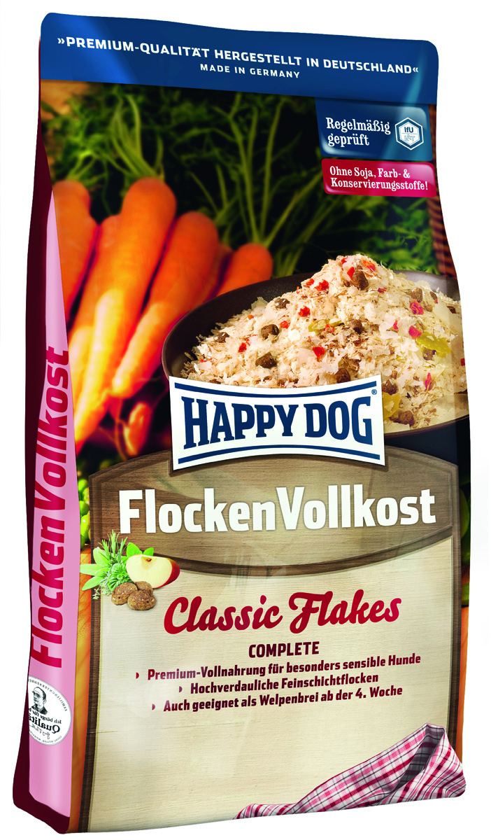 Корм сухой Happy Dog Flocken Vollkost, дополнительное питание для собак в виде хлопьев, 3 кг0120710Happy Dog Flocken Vollkost - полезный, легко усваиваемый полнорационный корм класса премиум подходит для собак с чувствительным пищеварением и в качестве прикорма для щенков в возрасте от 3 недель. Полноценный корм из хлопьев содержит сбалансированное количество животных белков и жиров, а также легко усваиваемые углеводы в форме специальных тонких хлопьев из созревшей на солнце кукурузы. Эти хлопья класса премиум всегда следует смешивать с теплой водой до кашеобразной консистенции.Состав: тонкие хлопья из кукурузной муки, мясопродукты, пшеничная мука, пшеница, птичий жир, мясо, фосфат дикальция, сушеная морковь, гороховые хлопья, птица, карбонат кальция, говяжий жир, гемоглобин, рыба, гидролизат печени, хлорид натрия, свекольная пульпа, яблочная пульпа, ягоды бузины, экстракт винограда, чабер садовый, майоран, плоды аниса, базилик, фенхель, цветки бузины, цветки лаванды, розмарин, шалфей, тимьян (общий объем трав: 0,1 %).Аналитический состав: сырой протеин 27,0%, сырой жир 13,0%, сырая клетчатка 3,0%, сырая зола 6,5%, кальций 1,5%, фосфор 0,85%, натрий 0,3%.Витамины/кг: витамин А 10250 М.E., витамин D3 1000 М.E., витамин Е 60 мг, витамин В1 4 мг, витамин В2 6 мг, витамин В6 3 мг, биотин 350 мкг, кальций D-пантотенат 10 мг, натрий 45 мг, витамин В12 60 мкг.Товар сертифицирован.