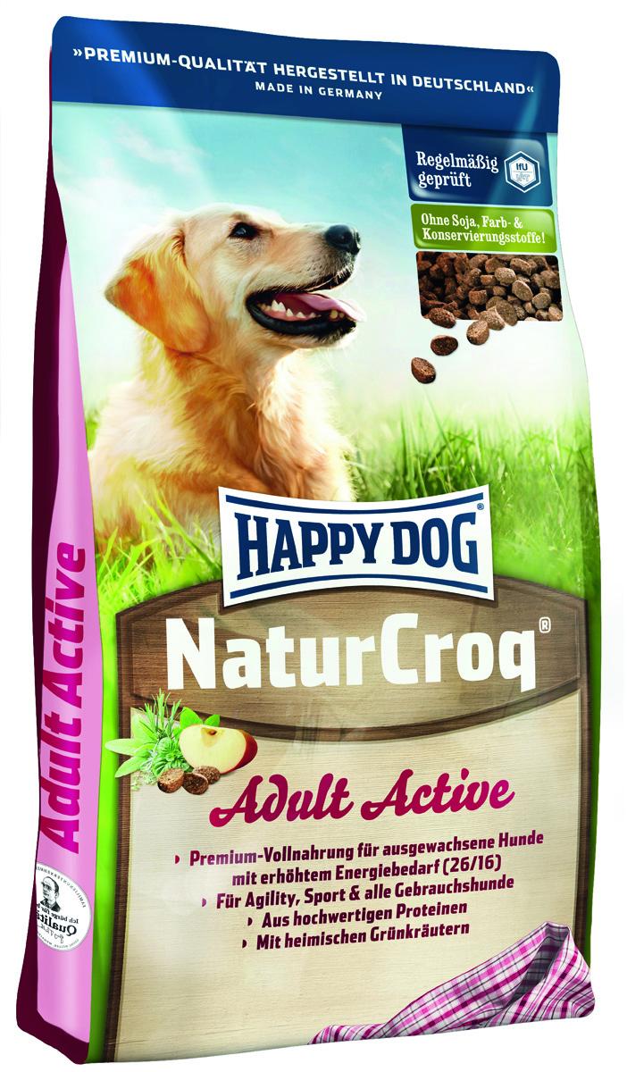 Сухой корм Happy Dog NaturCroq. Active для активных собак, 15 кг2553Легко усваиваемый полнорационный корм Happy Dog NaturCroq. Active оптимально подходит для всех взрослых собак с повышенной потребностью в энергии. Благодаря ценным Омега-3 и Омега-6 - жирным кислотам из подсолнечного и рапсового масла корм быстро обеспечивает энергией всех служебных собак, а также придает силы для активного движения и спорта, не создавая при этом нагрузки для организма. Корм содержит все витамины и минеральные вещества, необходимые для сбалансированного питания вашей собаки.Состав: птица (12 %), цельные зерна пшеницы, пшеничная мука, кукурузная мука, птичий жир, цельные зерна кукурузы, цельные зерна ячменя, говяжий жир, мясопродукты, гемоглобин, мясо, рыба (1,5 %), гидролизат печени, свекольная пульпа, масло из семян подсолнечника (0,8 %), яблочная пульпа (0,8 %), дрожжи сухие, ростки солода, рапсовое масло (0,2 %), хлорид натрия, овес сушеный, подсолнечник сушеный, листья салата сушеные, петрушка сушеная, мясо моллюска (общий объем трав: 0,3 %).Аналитический состав: сырой протеин 26%, сырой жир 16%, сырая клетчатка 3%, сырая зола 6%, кальций 1,4%, фосфор 0,85%, натрий 0,3%, калий 0,5%.Добавки на 1 кг продукта: витамин А 10250 МE, витамин D3 1000 МE, витамин Е 60 мг, витамин В1 4 мг, витамин В2 6 мг, витамин В6 3 мг, биотин 350 мкг, кальций D-пантотенат 10 мг, ниацин 45 мг, витамин В12 60 мкг, холинхлорид. Микроэлементы на 1 кг продукта: железо 80 мг, медь 8 мг, цинк 80 мг, марганец 5 мг, йод 2 мг, селен 0,15 мг.Товар сертифицирован.