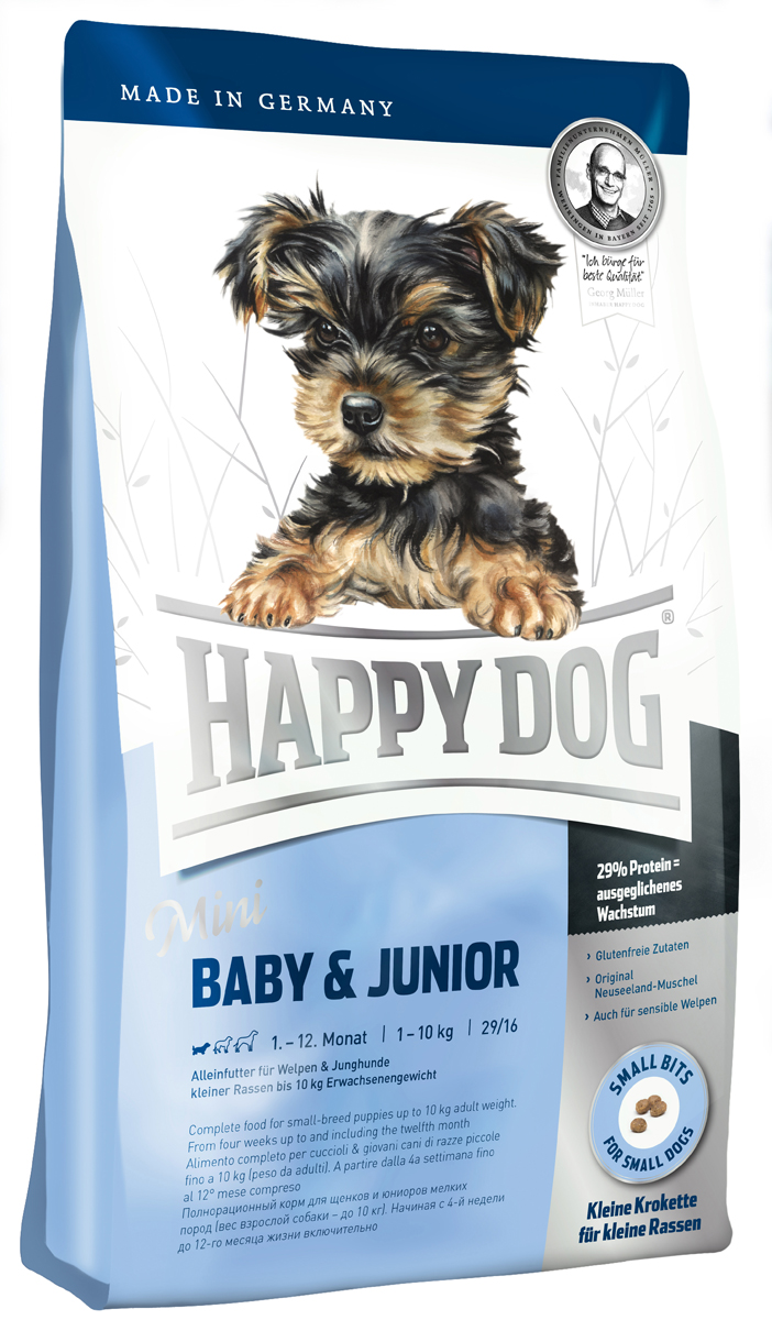 Корм сухой Happy Dog Mini Baby & Junior для щенков мелких пород, 4 кг0120710Happy Dog Mini Baby & Junior - оптимально сбалансированный корм для щенков мелких пород. Корм объединяет высококачественные ингредиенты: мясо птицы, лосося, а также ценного новозеландского моллюска. Одобренная ветеринарными врачами рецептура содержит 29% белка. Этот сухой корм оптимально подходит для беспроблемного и щадящего кормления щенков и юниоров всех пород, в том числе чувствительных к кормам начиная с 4 недели жизни (вес взрослой собаки - до 10 кг). Состав: птица (26,5%), кукурузная мука, рисовая мука, птичий жир, лосось (5%), картофельный белок, картофель, клетчатка, свекольная пульпа, масло из семян подсолнечника, яблочная пульпа (0,6%), сухое цельное яйцо, рапсовое масло, хлорид натрия, дрожжи, хлорид калия, морские водоросли (0,15%), семя льна (0,15%), дрожжи (экстрагированные), расторопша, артишок, одуванчик, имбирь, березовый лист, крапива, ромашка, кориандр, розмарин, шалфей, корень солодки, тимьян, новозеландский моллюск (0,01%), (общий объем сухих трав: 0,14%).Аналитический состав: сырой протеин 29%, сырой жир 16%, сырая клетчатка 3,0%, сырая зола 6,5%, кальций 1,4%, фосфор 1,0%, натрий 0,4%, Омега-6 жирные кислоты 3,0%, Омега-3 жирные кислоты 0.4%.Витамины/кг: витамин A 12000 М.Е., витамин D3 1200 М.E., витамин Е 75 мг, витамин В1 4 мг, витамин В6 6 мг, биотин 4 мг, кальция D- пантотенат 575 мкг, ниацин 10 мг, витамин В12 40 мг, холинхлорид. Микроэлементы/кг: железо 70 мкг, медь 60 мг, цинк 105 мг, марганец 10 мг, йод 125 мг, селен 25 мг.Товар сертифицирован.