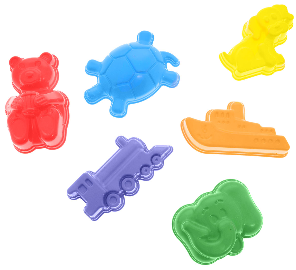 """Какая песочница без формочек? Набор формочек """"Zebratoys"""" с высокой степенью прорисовки и необычными формами станет полноценным дополнением к любой игре в песке. А качественные красители не позволят формочкам выгореть на солнце. Набор включает в себя шесть формочек в виде корабля, слоника, медвежонка, паровозика, собачки и черепашки."""