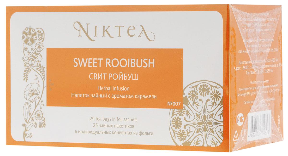 Niktea Sweet Rooibush чай травяной в пакетиках, 25 шт0120710Niktea Sweet Rooibush - бархатистый вечерний напиток с ароматом нежнейший карамели. Идеально сочетается с десертами.NikTea следует правилу качество чая - это отражение качества жизни и гарантирует:Тщательно подобранные рецептуры в коллекции топовых позиций-бестселлеров. Контролируемое производство и сертификацию по международным стандартам. Закупку сырья у надежных поставщиков в главных чаеводческих районах, а также в основных центрах тимэйкерской традиции - Германии и Голландии. Постоянство качества по строго утвержденным стандартам. NikTea - это два вида фасовки - линейки листового и пакетированного чая в удобной технологичной и информативной упаковке. Чай обладает многофункциональным вкусоароматическим профилем и подходит для любого типа кухни, при этом постоянно осуществляет оптимизацию базовой коллекции в соответствии с новыми тенденциями чайного рынка. Фильтр-бумага для пакетированного чая NikTea поставляется одним из мировых лидеров по производству специальных высококачественных бумаг — компанией Glatfelter. Чайная фильтровальная бумага Glatfelter представляет собой специально разработанный микс из натурального волокна абаки и целлюлозы. Такая фильтр-бумага обеспечивает быструю и качественную экстракцию чая, но в то же самое время не пропускает даже самые мелкие частицы чайного листа в настой. В результате вы получаете превосходный цвет, богатый вкус и насыщенный аромат чая.