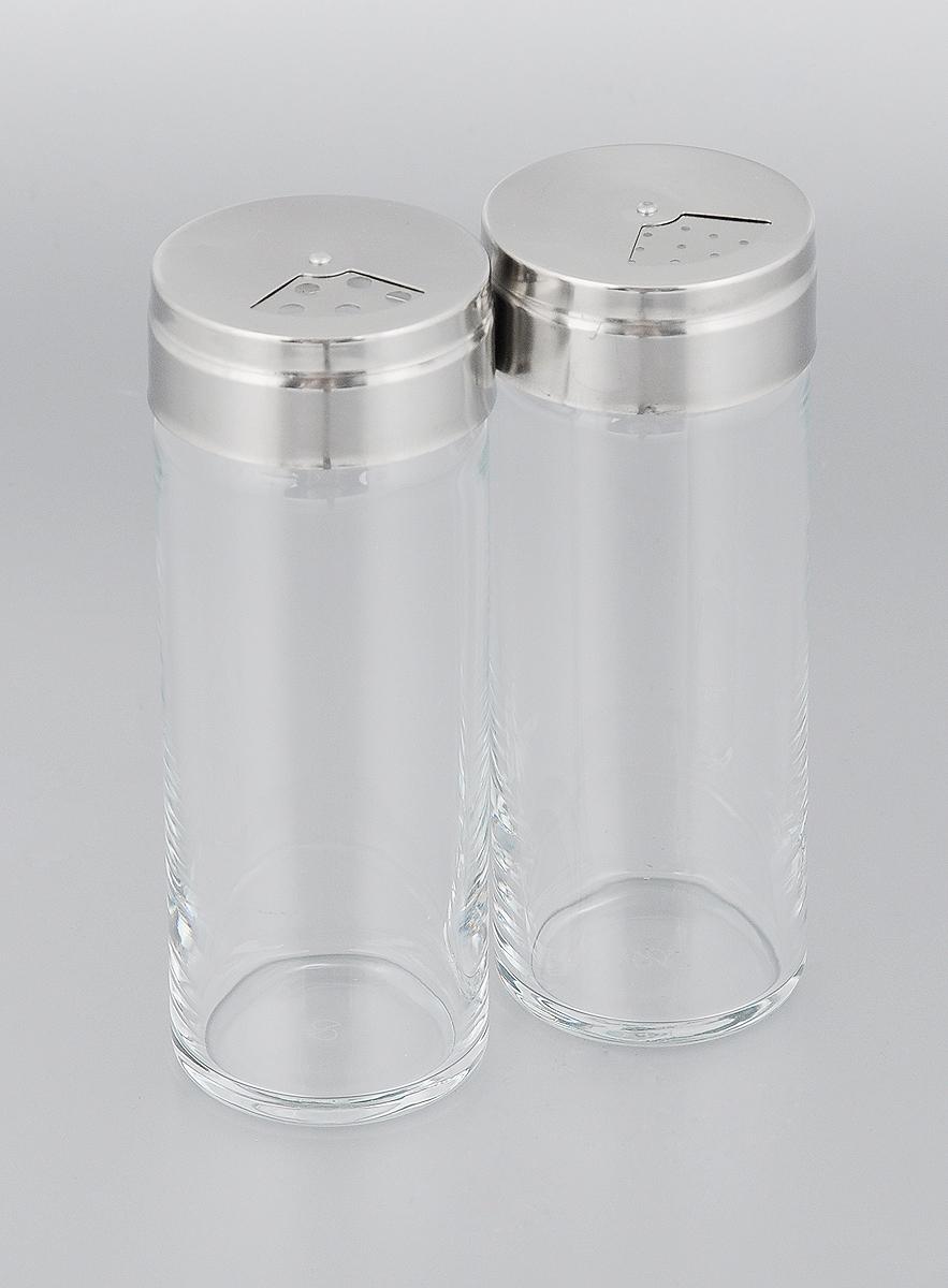Набор для специй Pasabahce Basic, 250 мл, 2 шт43890BНабор Pasabahce Basic состоит из двух емкостей для специй, изготовленных из натрий-кальций-силикатного стекла, что позволяет видеть количество содержимого в емкости. Изделия оснащены откручивающимися крышками с отверстиями из металла и пластика.Стильная форма этих емкостей привлекает внимание и будет уместна на любой кухне.Можно мыть в посудомоечной машине.Размер емкости: 5,5 х 5,5 х 14,5 см.
