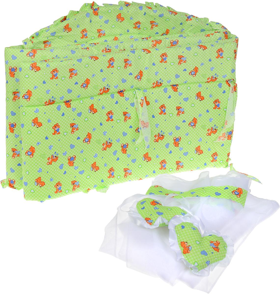 Фея Комплект для детской кроватки Мишки с сердечками 2 предметаB111-3Комплект для детской кроватки Фея Мишки с сердечками, выполненный из хлопка и полиэфира, включает в себя борт и балдахин для детской кроватки. Бортик закрывает весь периметр кроватки и крепится с помощью специальных завязок, благодаря чему его можно поместить в любую детскую кроватку. Выполнен натурального хлопка безупречной выделки. Деликатные швы рассчитаны на прикосновение к нежной коже ребенка. Бортик оформлен изображениями забавных плюшевых медвежат с сердечками.Балдахин, выполненный из полиэстера, можно использовать как для люльки, так и для кроватки. Сверху балдахин декорирован вставкой из хлопка с рисунком, а также двумя атласными лентами с мягкими игрушками в виде сердечек. Длина бортика - 360 см, размеры балдахина - 250 см х 150 см.