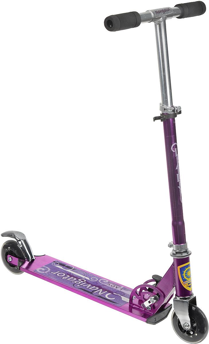 Navigator Cамокат двухколесный Lady цвет фиолетовыйWRA523700Яркий двухколесный самокат Navigator Lady разработан специально для девочек.Он имеет регулировку руля по высоте, что способствует его длительному использованию. Самокат имеет легкую и прочную раму, прекрасно едет по ровной поверхности и не оставит вашу маленькую леди равнодушной.Максимальная нагрузка - 70 кг.Катание на самокате - одно из любимых занятий детей. Оно приобретает большую популярность, поскольку не требует специальных навыков. Самокат дает возможность не только замечательно провести досуг, но и обеспечить определенное физическое развитие его владельцу. Порадуйте своего ребенка таким замечательным подарком!