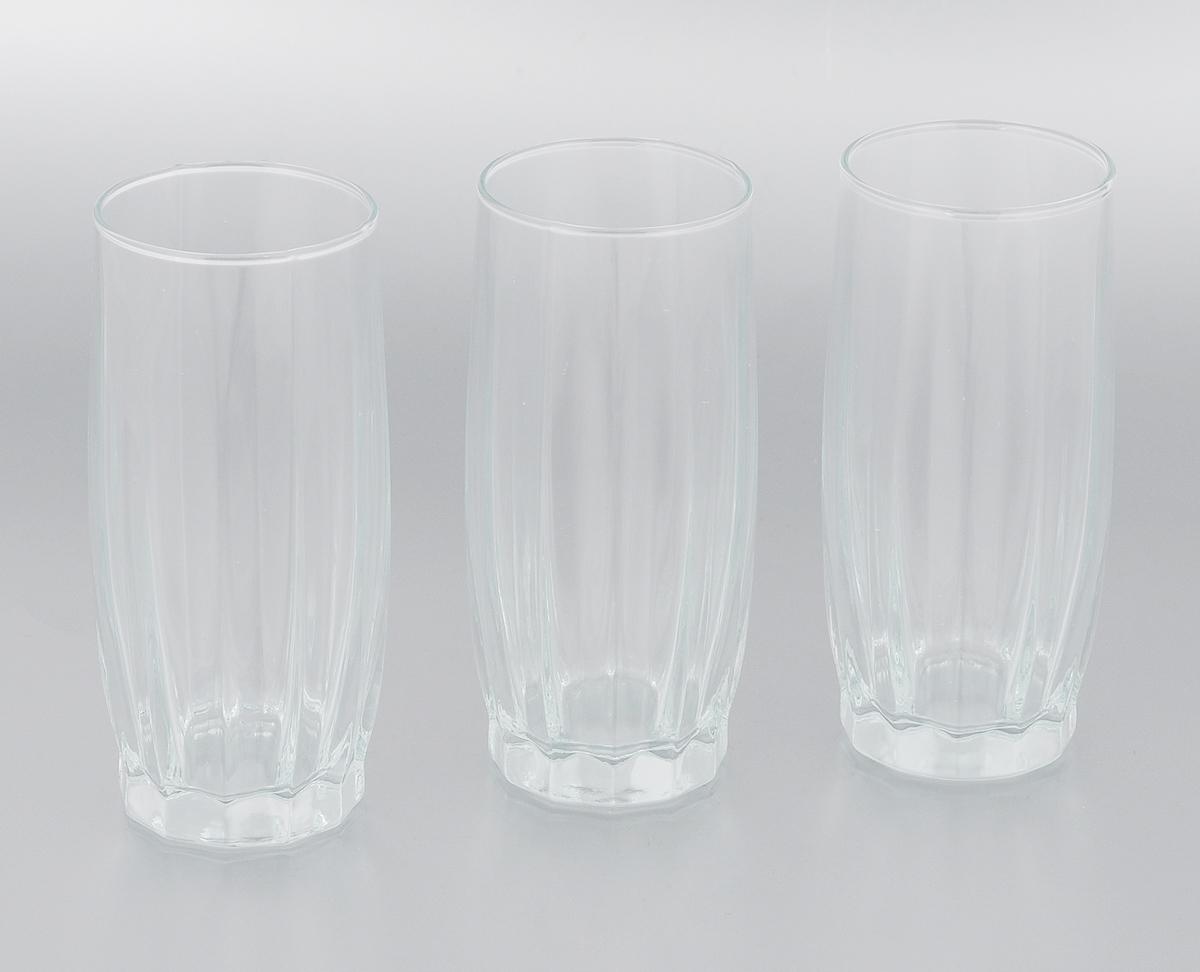 Набор стаканов Pasabahce Dance, 320 мл, 3 штVT-1520(SR)Набор Pasabahce Dance состоит из трех стаканов, выполненных из натрий-кальций-силикатного стекла. Высокие стаканы с узким горлышком предназначены для подачи воды, сока, компота и других напитков. Стаканы сочетают в себе элегантный дизайн и функциональность.Набор стаканов Pasabahce Dance идеально подойдет для сервировки стола и станет отличным подарком к любому празднику.Можно использовать в морозильной камере и микроволновой печи. Можно мыть в посудомоечной машине. Диаметр стакана (по верхнему краю): 6 см. Высота стакана: 14 см.
