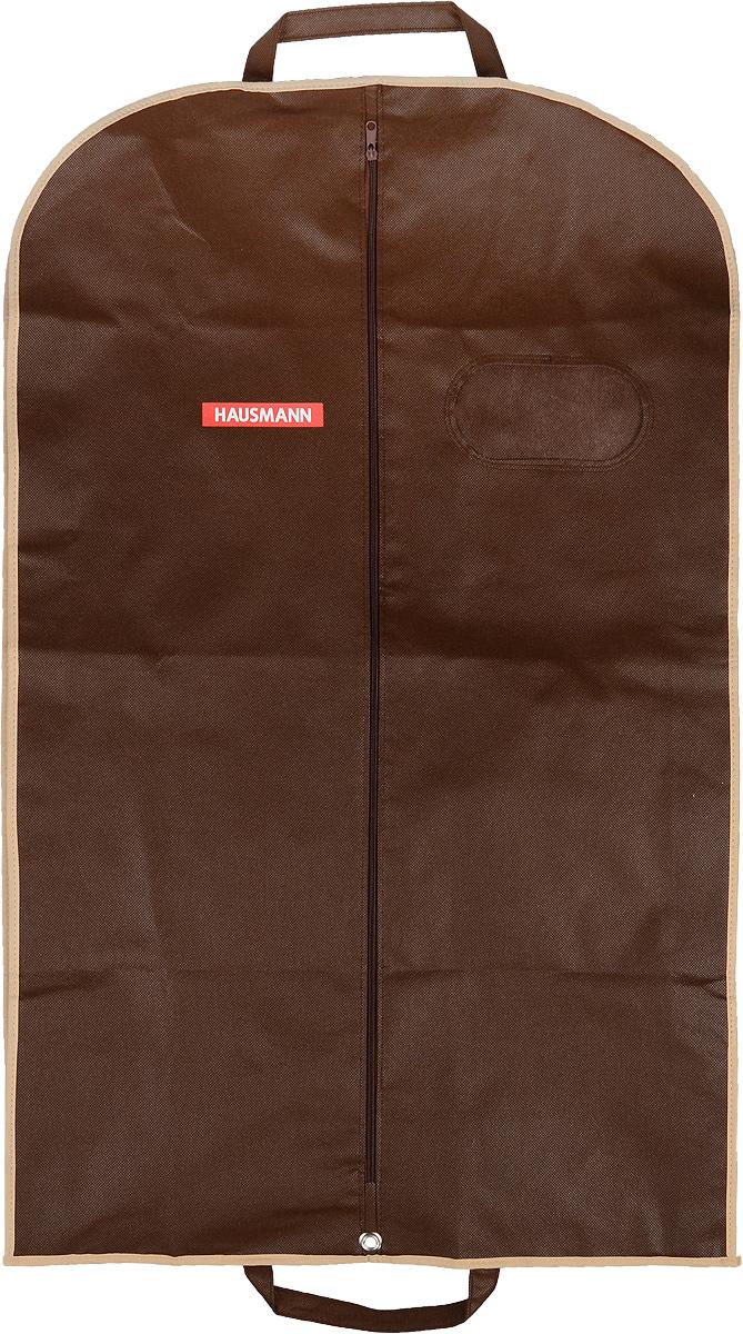 Чехол для одежды Hausmann, подвесной, с прозрачной вставкой, цвет: коричневый, 60 х 100 см чехол для одежды hausmann подвесной с прозрачной вставкой цвет серый 60 х 100 см