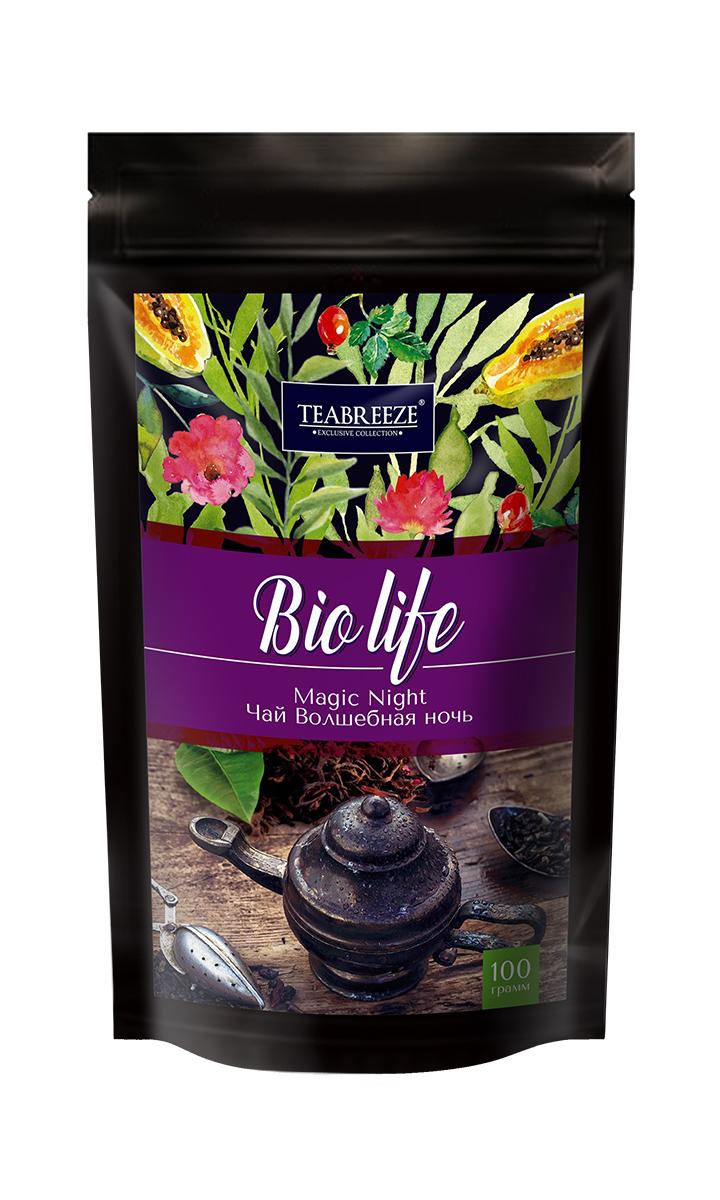 Teabreeze Волшебная ночь листовой ароматизированный чай, 100 г101246Чай Teabreeze Волшебная ночь просто создана для вечерних чаепитий и долгих разговоров. Основу чая составляет смесь из цейлонского черного чая и китайского зеленого чая Сенча. К ним добавлены лепестки розы и подсолнечника, плоды шиповника, ароматные кусочки папайи, а также натуральные масла дыни, земляники, абрикоса и душистой смородины. Бархатный вкус и пленительный фруктовый аромат этого чая напоминают о купающихся в душистых сумерках южных садах.