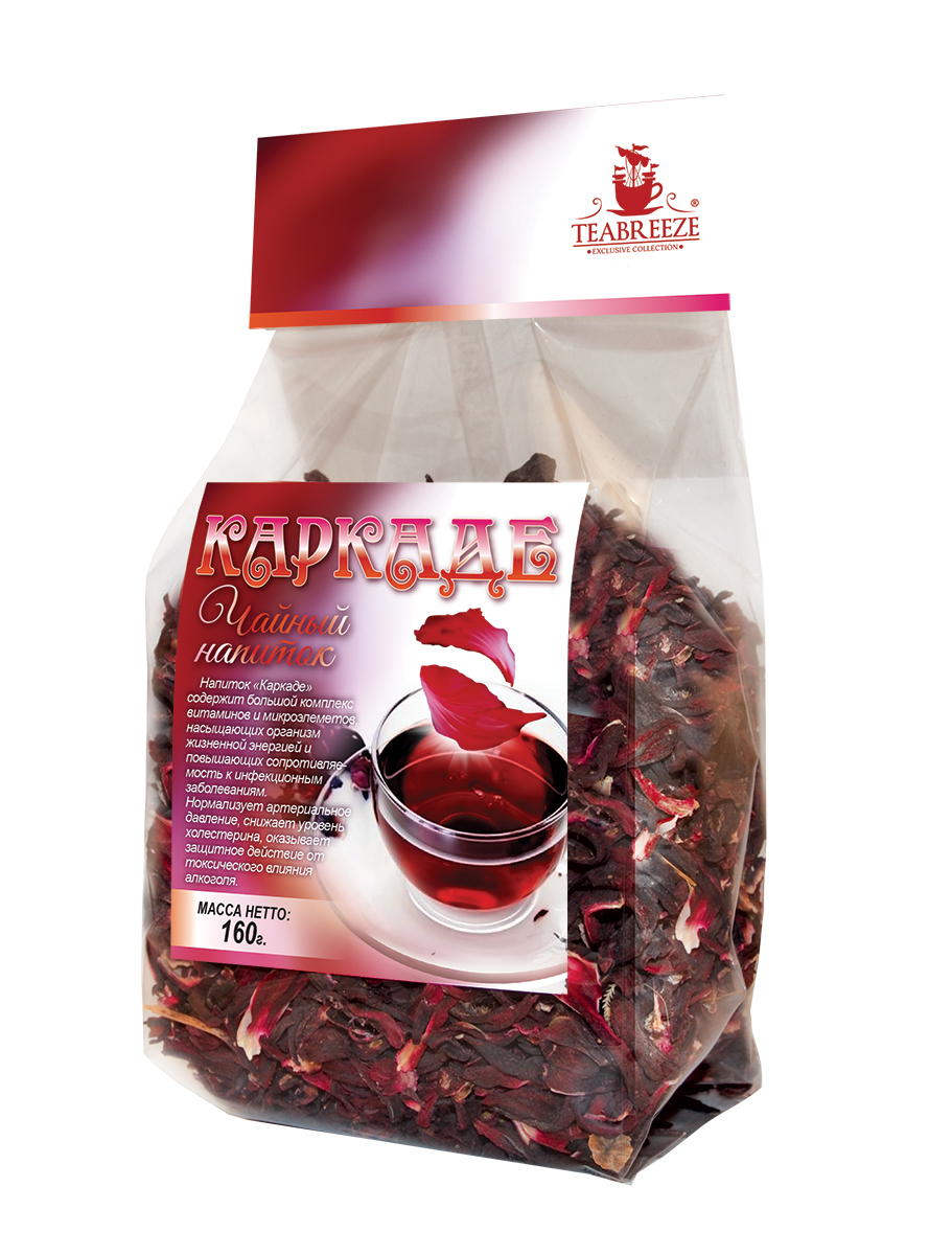 Teabreeze чайный напиток каркаде, 160 г101246Teabreeze каркаде - сладковато-кислый на вкус чайный напиток ярко-красного или бордового цвета, изготавливаемый из сушёных прицветников цветков розеллы, или суданской розы из рода Гибискус. Каркаде имеет много названий и эпитетов. Его также называют напиток фараонов, кандагар, суданская роза, красная роза, красный щавель, окра, кенаф. Является национальным египетским напитком. Чай пьётся в качестве прохладительного напитка в жару. Также употребляется холодный каркаде с сахаром, этот напиток по вкусу напоминает морс.