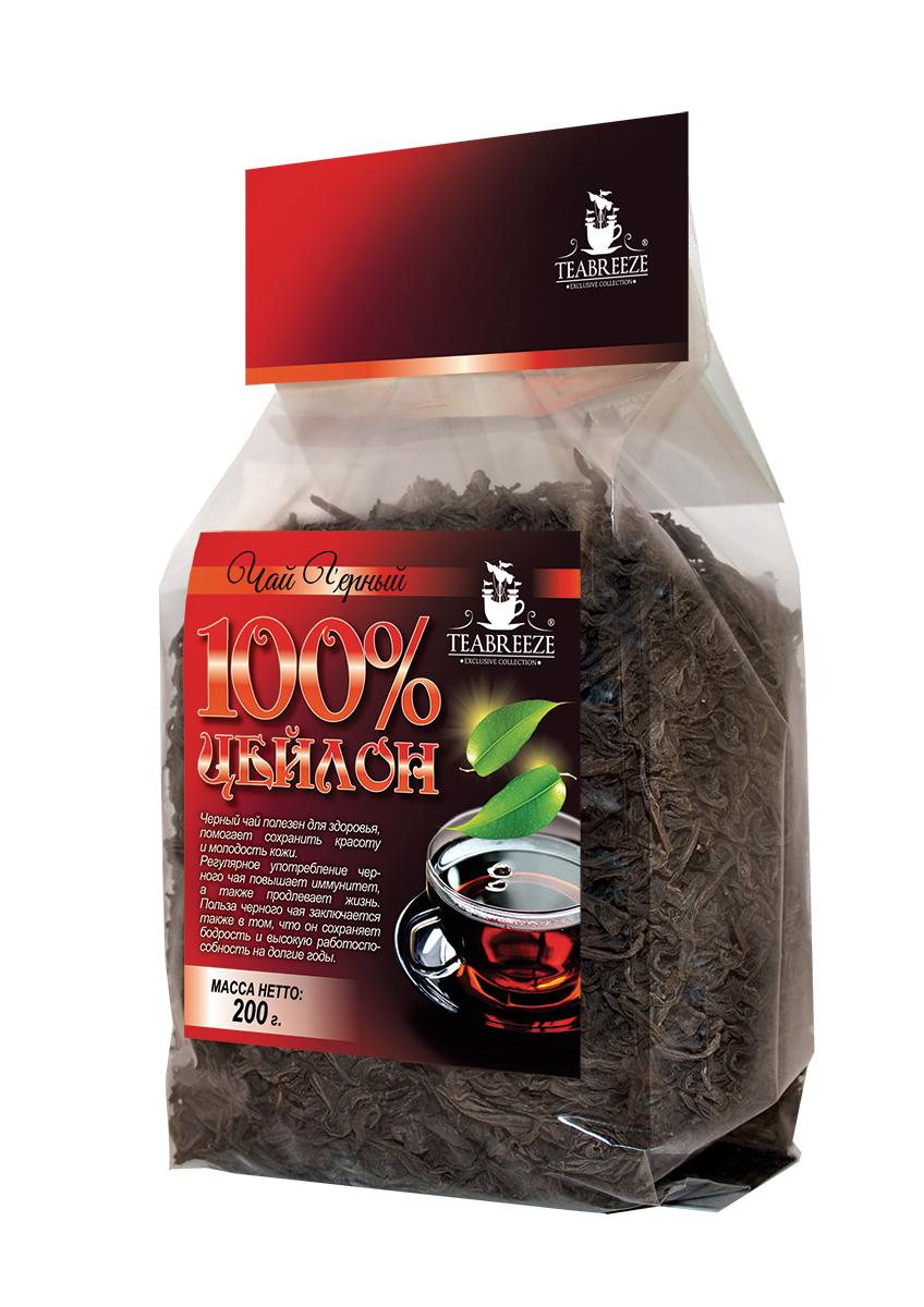 Teabreeze Цейлон крупнолистовой черный байховый чай, 200 г0120710Цейлонский чай Teabreeze, пожалуй, в наибольшей степени соответствует представлению западного человека о настоящем черном чае: это настой красно-коричневого, почти черного цвета, очень крепкий и ароматный. Чай, состоящий из длинных, тонких листьев, обладает фруктовым ароматом. Этот чай хорошо пить с молоком, и он отлично дополняет сладкий завтрак или дневную еду.