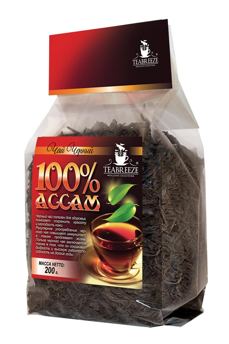 Teabreeze Ассам крупнолистовой черный байховый чай, 200 гTB 1503-200Ассам легко определить по специфическому, пряному, немного цветочному аромату с необычными для черного чая медовыми нотками. Может сочетается с молоком, сахаром и лимоном, но для более полного удовольствия от ассамовского послевкусия лучше этого избежать. Для лучшего ощущения послевкусия, после каждого глотка воздух надо выдыхать наполовину через рот, а наполовину через нос. Наградой за это будет легкий солодовый привкус с почти ментоловым свежим оттенком.