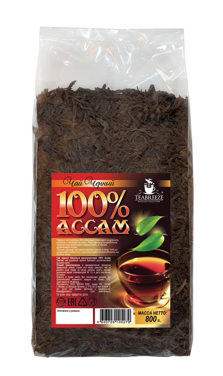 Teabreeze Ассам крупнолистовой черный байховый чай, 800 г0120710Ассам легко определить по специфическому, пряному, немного цветочному аромату с необычными для черного чая медовыми нотками. Может сочетается с молоком, сахаром и лимоном, но для более полного удовольствия от ассамовского послевкусия лучше этого избежать. Для лучшего ощущения послевкусия, после каждого глотка воздух надо выдыхать наполовину через рот, а наполовину через нос. Наградой за это будет легкий солодовый привкус с почти ментоловым свежим оттенком.