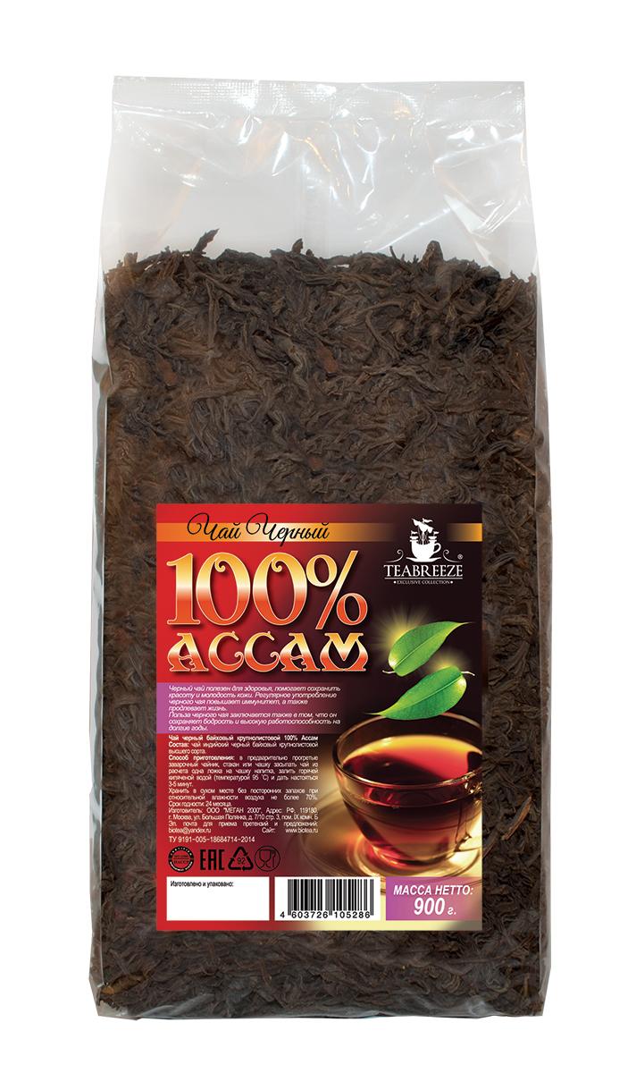 Teabreeze Ассам крупнолистовой черный байховый чай, 900 г0120710Ассам легко определить по специфическому, пряному, немного цветочному аромату с необычными для черного чая медовыми нотками. Может сочетается с молоком, сахаром и лимоном, но для более полного удовольствия от ассамовского послевкусия лучше этого избежать. Для лучшего ощущения послевкусия, после каждого глотка воздух надо выдыхать наполовину через рот, а наполовину через нос. Наградой за это будет легкий солодовый привкус с почти ментоловым свежим оттенком.