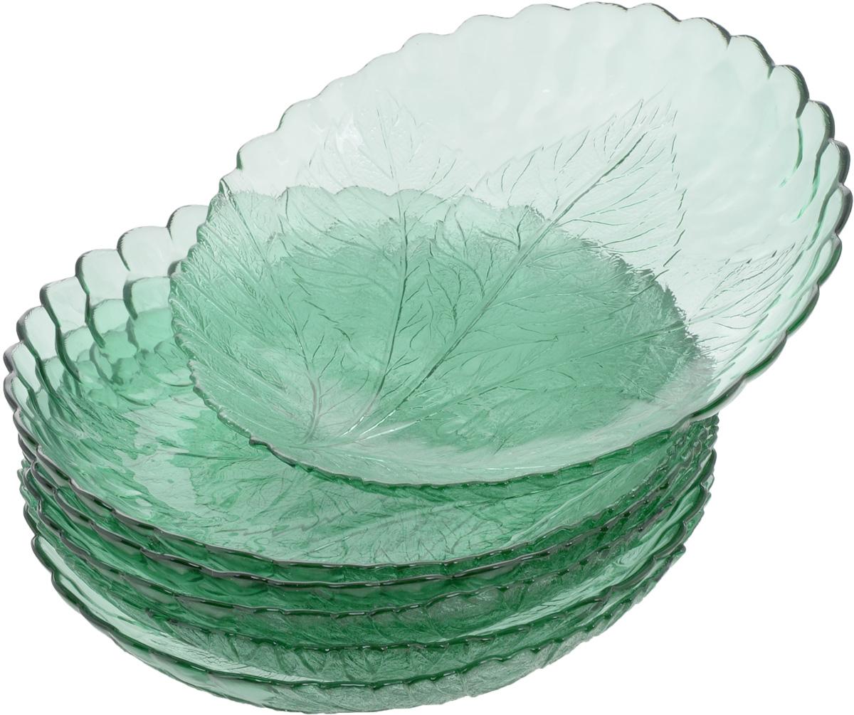 Набор тарелок Pasabahce Workshop Green, диаметр 21 см, 6 шт54 009312Набор Pasabahce Workshop Green, выполненный из высококачественного стекла, состоит из шести тарелок. Изделия прекрасно подойдут для красивой сервировки стола. Тарелки декорированы рельефным изображением листьев. Эстетичность, функциональность и изящный дизайн сделают набор достойным дополнением к вашему кухонному инвентарю.Набор тарелок Pasabahce Workshop Green украсит ваш стол и станет отличным подарком к любому празднику. Можно использовать в морозильной камере и микроволновой печи. Можно мыть в посудомоечной машине.Диаметр тарелки: 21 см.
