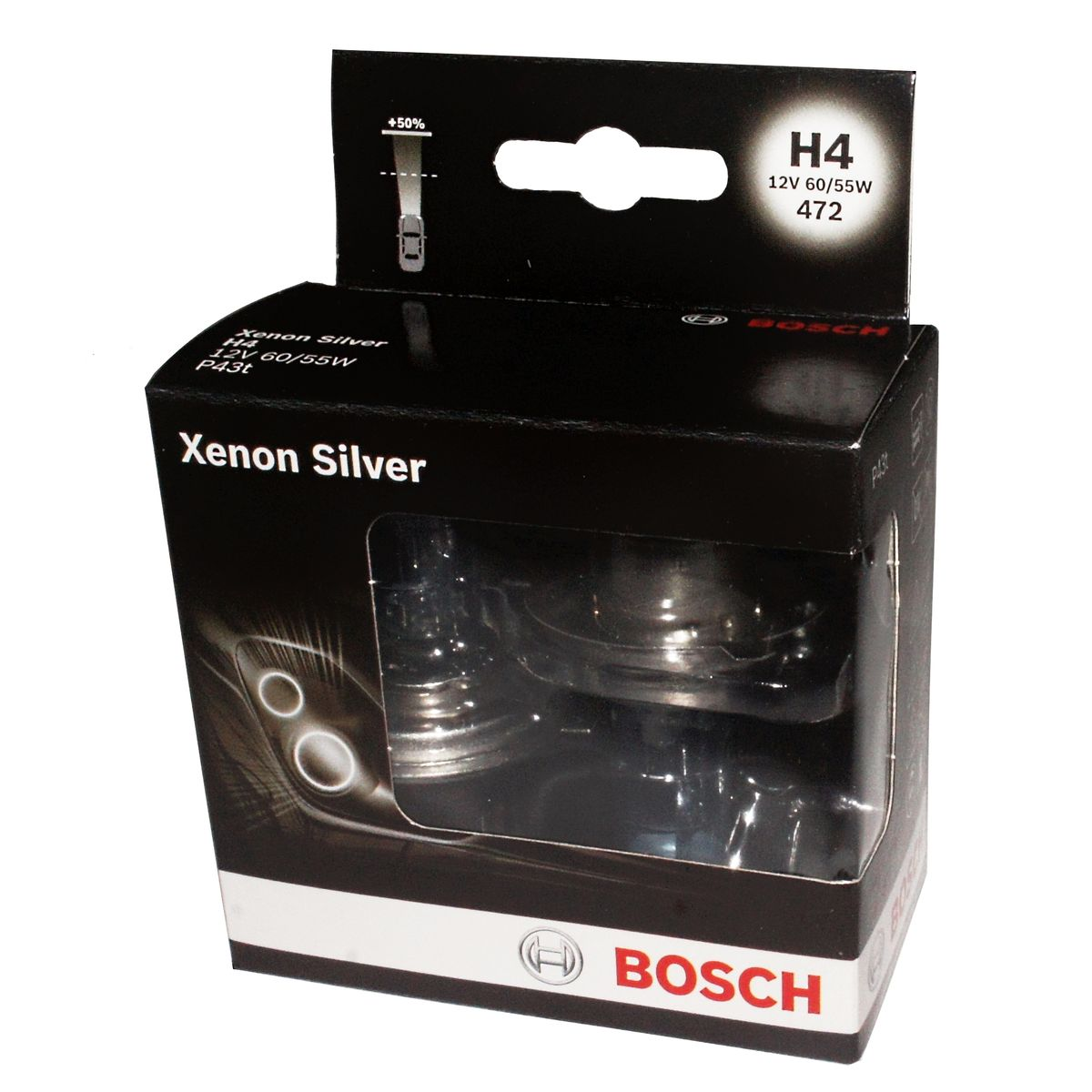 Лампа Bosch H7 Xenon Silver 2шт. 198730108710503Новые лампы Bosch для галогенных фар освещают дорогу интенсивным белым светом, который очень близок по свойствам к дневному освещению.Благодаря этому глаза водителя не теряют фокусировки и меньше устают даже во время долгих поездок в темное время суток. Новые лампы отличаются высокой яркостью и могут давать до 50% больше света, чем стандартные галогенные фары. Лампы Bosch доступны в вариантах H1, H4 и H7. Серебряное покрытие ламп H4 и H7 делает их едва заметными за стеклами выключенных фар. Новые лампы выглядят наиболее эффектно в сочетании с фарами из прозрачного стекла и подчеркивают современный дизайн автомобилей. Увеличенная яркость и дальность освещения положительно сказывается на безопасности движения. В темное время суток или в сложных погодных условиях, таких как ливень или густой туман, водитель замечает опасную ситуацию намного раньше и на большем расстоянии, при этом лучше заметен и сам автомобиль с фарами Bosch. Напряжение: 12 вольт