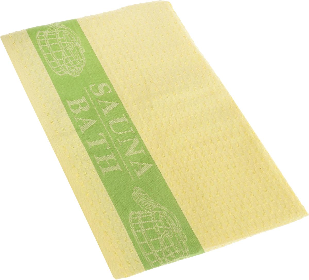 Полотенце Soavita Сауна, цвет: желтый, зеленый, 100 х 160 см391602Полотенце Soavita Сауна выполнено из 100% хлопка. Изделие отлично впитывает влагу, быстро сохнет, сохраняет яркость цвета и не теряет форму даже после многократных стирок. Полотенце очень практично и неприхотливо в уходе. Оно создаст прекрасное настроение и украсит интерьер в ванной комнате.