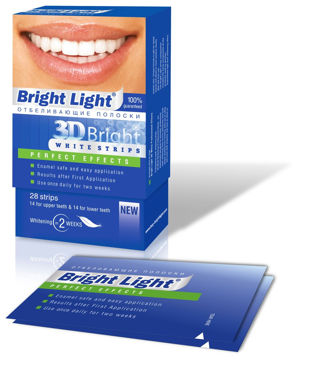 Отбеливающие полоски для зубов Bright Light 3D Bright Perfect Effects, для чувствительных зубовHX9352/04Отбеливающие полоски Bright Light 3D Bright PERFECT EFFECTS -для отбеливания зубов с повышенной чувствительностью в домашних условиях, удаляют желтизну и зубной налет, образующийся от курения, частого употребления кофе и других продуктов, влияющих на цвет эмали. Эффект высокого уровня отбеливания гарантирован!Bright Light идеально точно повторяют уникальную форму ваших зубов, обеспечивая надёжный контакт отбеливающего состава с их поверхностью.Отбеливающие полоки Bright Light эффективно работают над белоснежностью вашей улыбки. Гель воздействует на эмаль очень бережно и деликатно. Постепенно исчезают серый и желтый налет, пятна, зубы обретают здоровую белизну.
