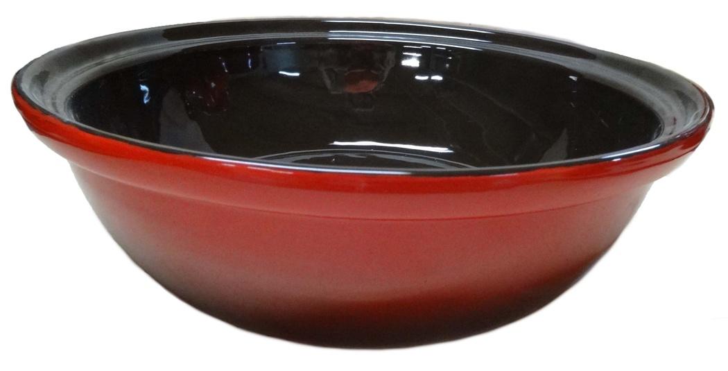 Салатник Борисовская керамика Модерн, цвет: красный, черный, 2,5 л115610Салатник Борисовская керамика Модерн выполнен из высококачественной глазурованной керамики. Этот большой и вместительный салатник придется по вкусу любителям здоровой и полезной пищи. Благодаря современной удобной форме, изделие многофункционально и может использоваться хозяйками на кухне как в виде салатника, так и для запекания продуктов, с последующим хранением в нем приготовленной пищи. Посуда термостойкая. Можно использовать в духовке и микроволновой печи.Диаметр (по верхнему краю): 28 см.Высота стенки: 9 см.