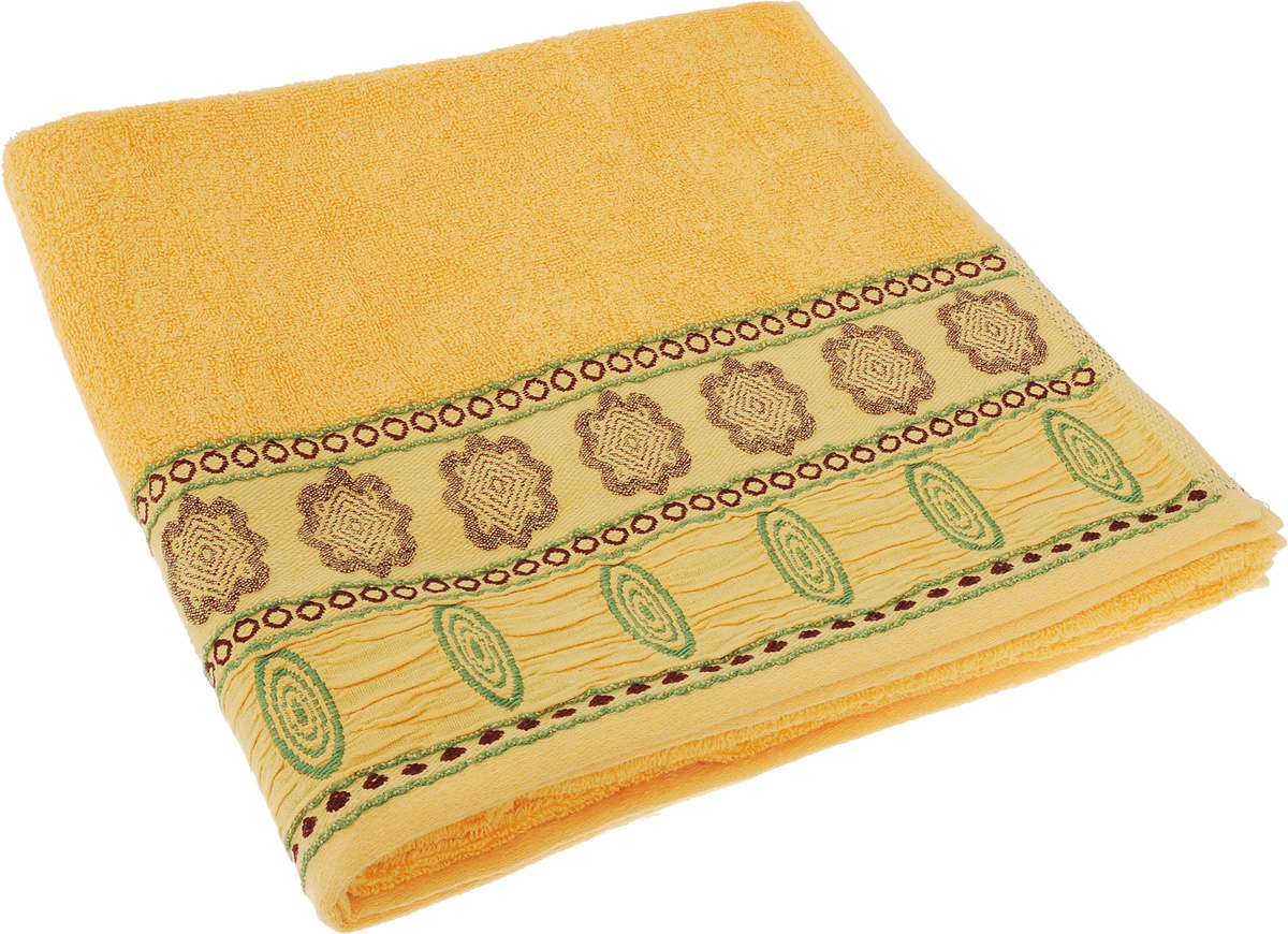 Полотенце Soavita Bruno, цвет: желтый, 70 х 140 см68/5/1Полотенце Soavita Bruno выполнено из 100% хлопка. Изделие отлично впитывает влагу, быстро сохнет, сохраняет яркость цвета и не теряет форму даже после многократных стирок. Полотенце очень практично и неприхотливо в уходе. Оно создаст прекрасное настроение и украсит интерьер в ванной комнате.