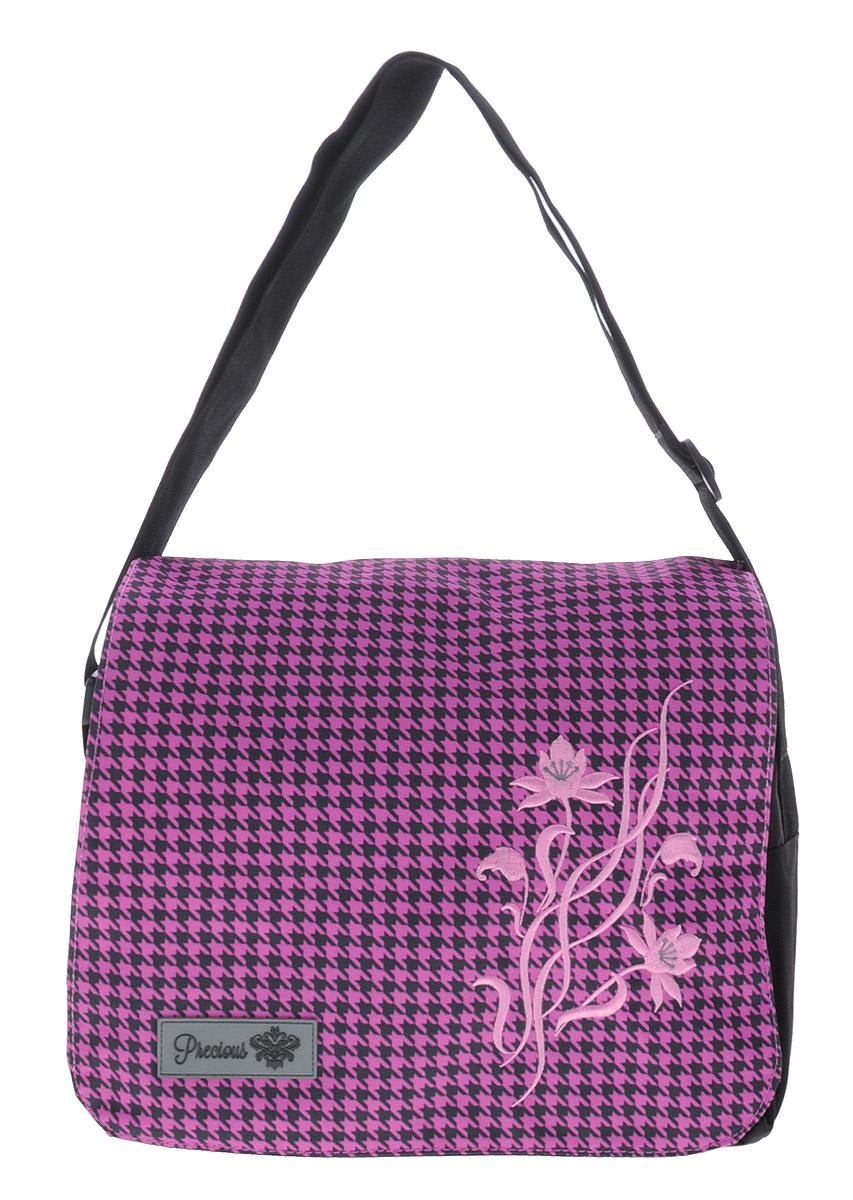 Hatber Сумка школьная Lilac Flower730396Молодежная сумка Hatber Lilac Flower с откидным клапаном имеет два основных отделения на молнии с двумя бегунками. Одно основное отделение содержит внутренний карман на молнии. На лицевой стороне сумки имеется небольшой карман на молнии, а также два небольших, открытых накладных кармашка для ручки и мелких предметов. На задней стороне расположен широкий карман на молнии. Сверху сумка имеет накидной клапан, закрывающийся на магнитные кнопки. Прочный регулируемый ремень надежно удержит значительный вес содержимого сумки. Сумка выполнена из износостойкого полиэстера, гарантирующего длительный срок службы.