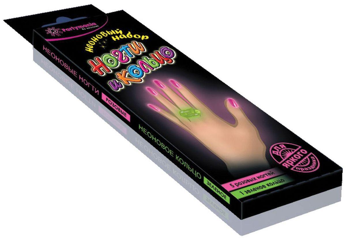Partymania Неоновый набор Ногти и кольцо цвет розовый зеленый -  Украшение волос, лица и тела