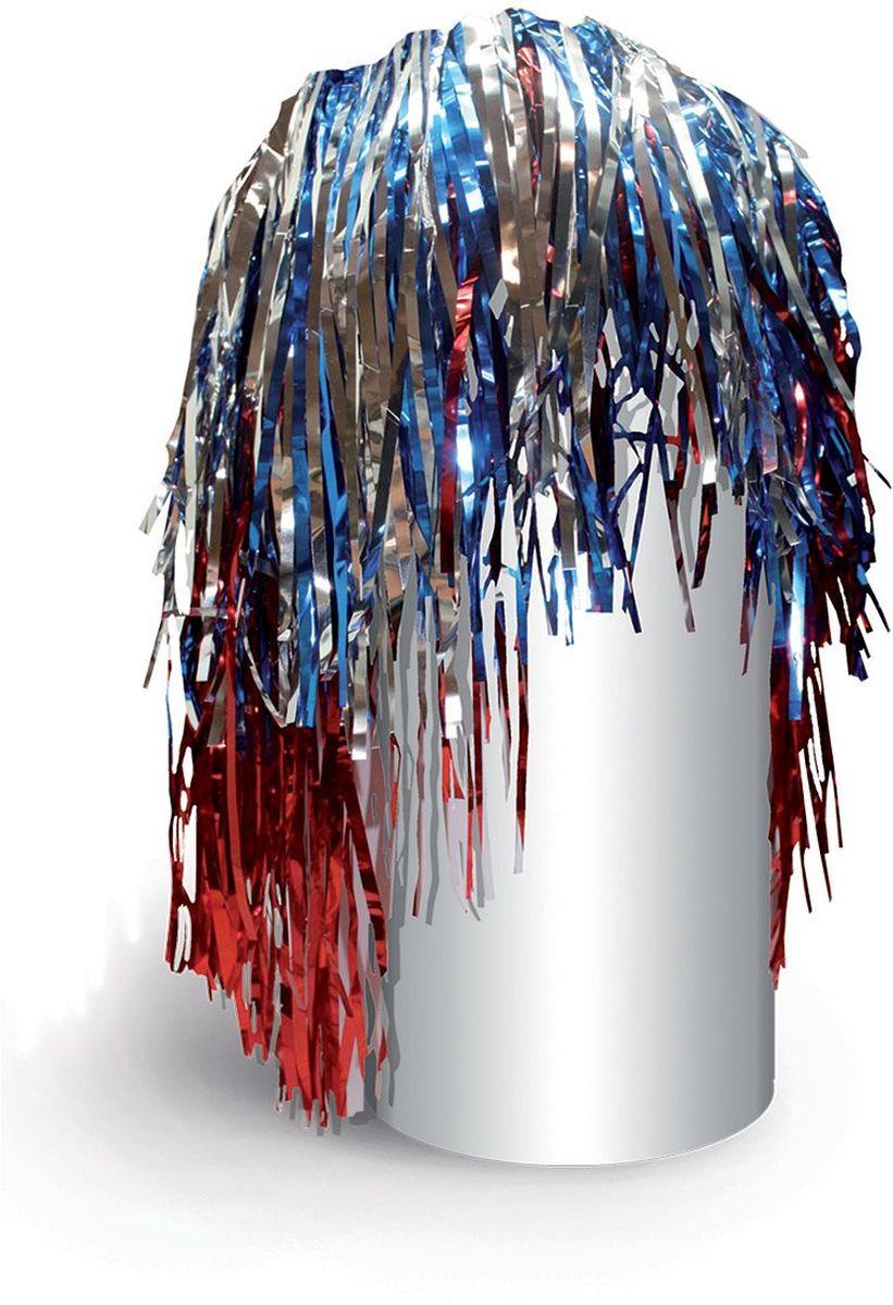 Partymania Маскарадный парик из дождика Веселый праздник цвет синий красный серебристый -  Парики