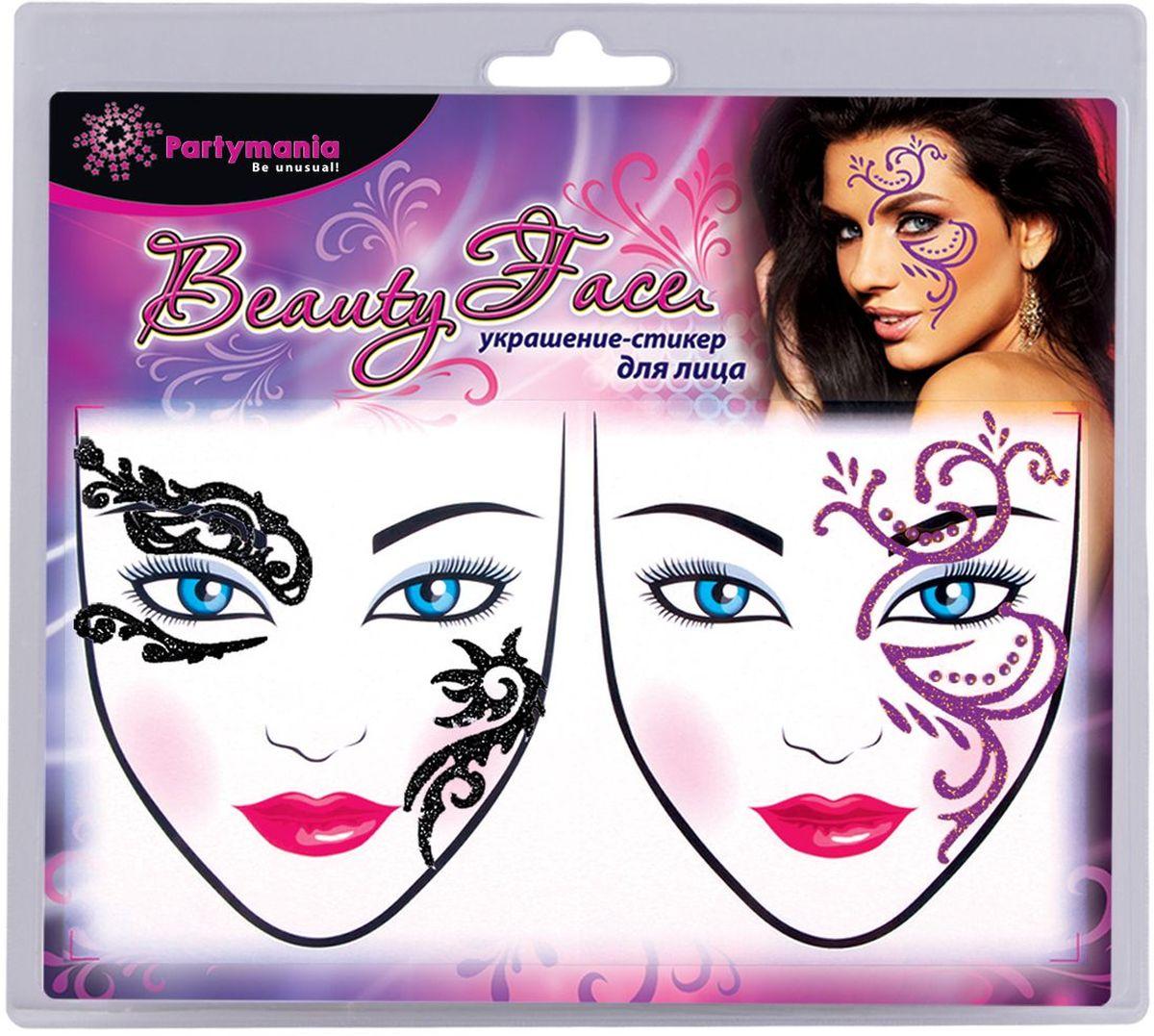 Partymania Украшение-стикер для лица Beauty Face 2 шт цвет черный розовый -  Украшение волос, лица и тела