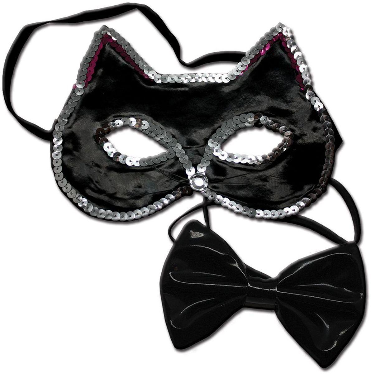 Partymania Маска карнавальная детская Кошечка с бабочкой цвет черный