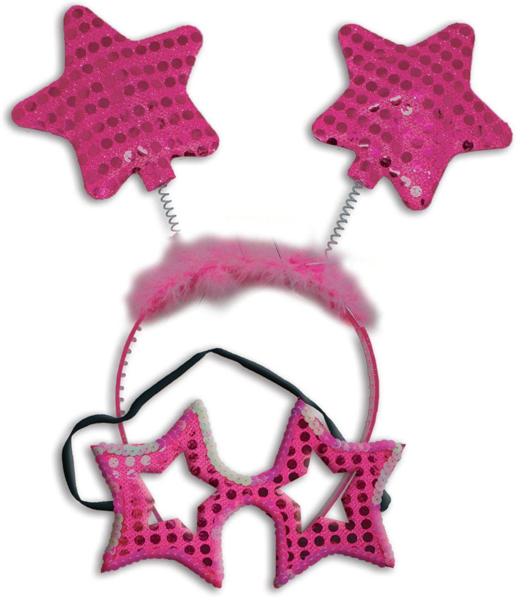 """Partymania Карнавальный набор Маска и ободок со звездочками цвет ярко-розовый, """"Eafa Novelty Company, LTD"""""""