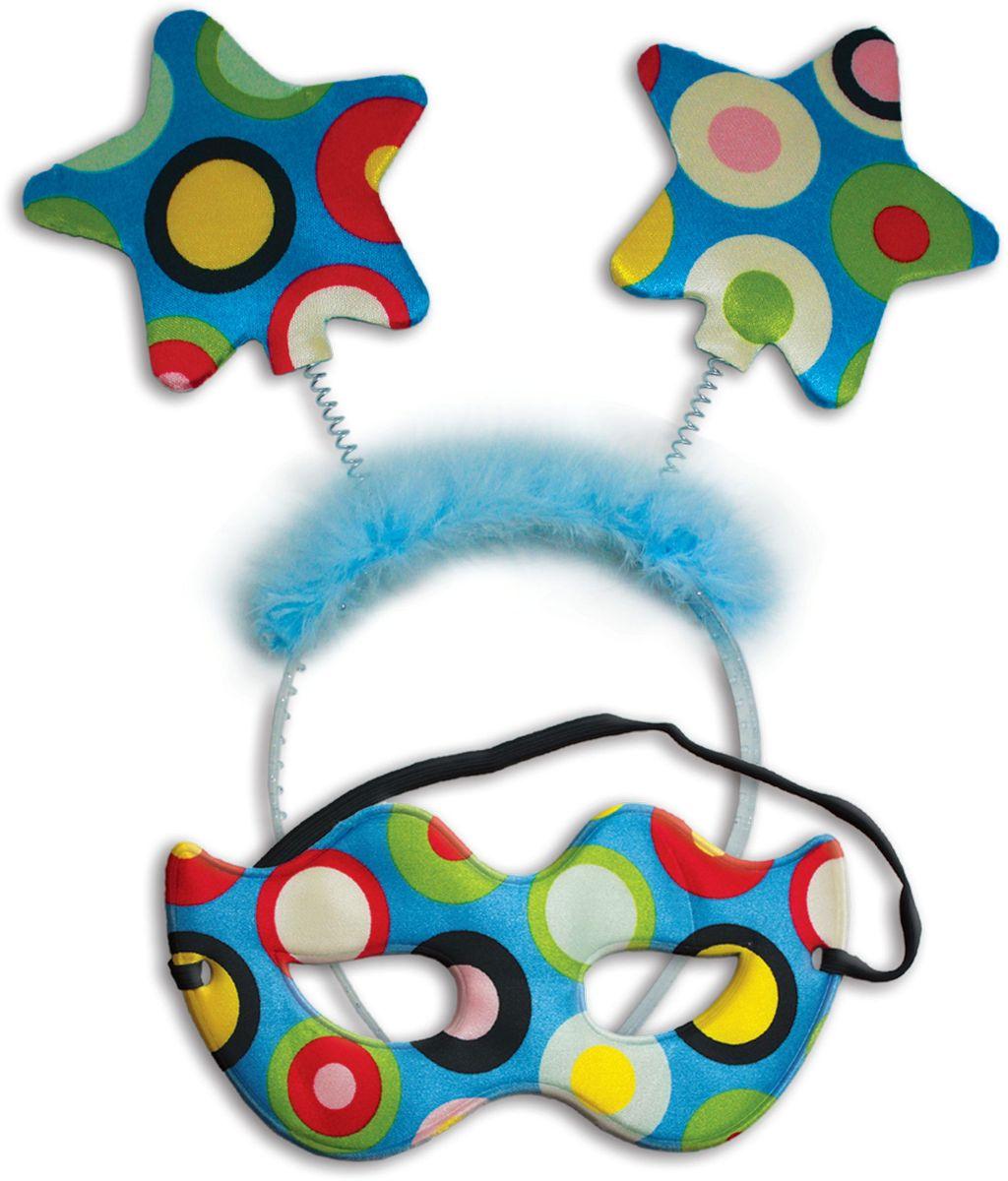 Partymania Карнавальный набор Маска и ободок со звездочками цвет разноцветный