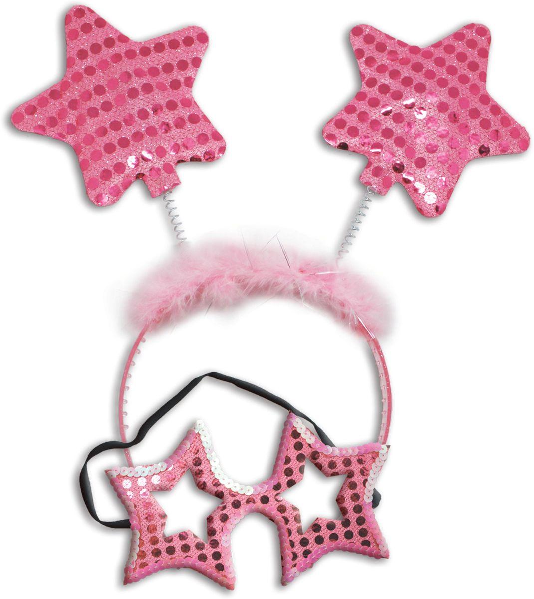 Partymania Карнавальный набор Маска и ободок со звездочками цвет светло-розовый -  Аксессуры для карнавальных костюмов