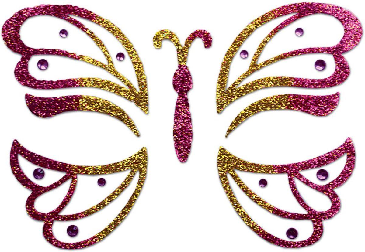 Partymania Украшение-стикер для лица Карнавал Бабочка цвет розовый -  Украшение волос, лица и тела