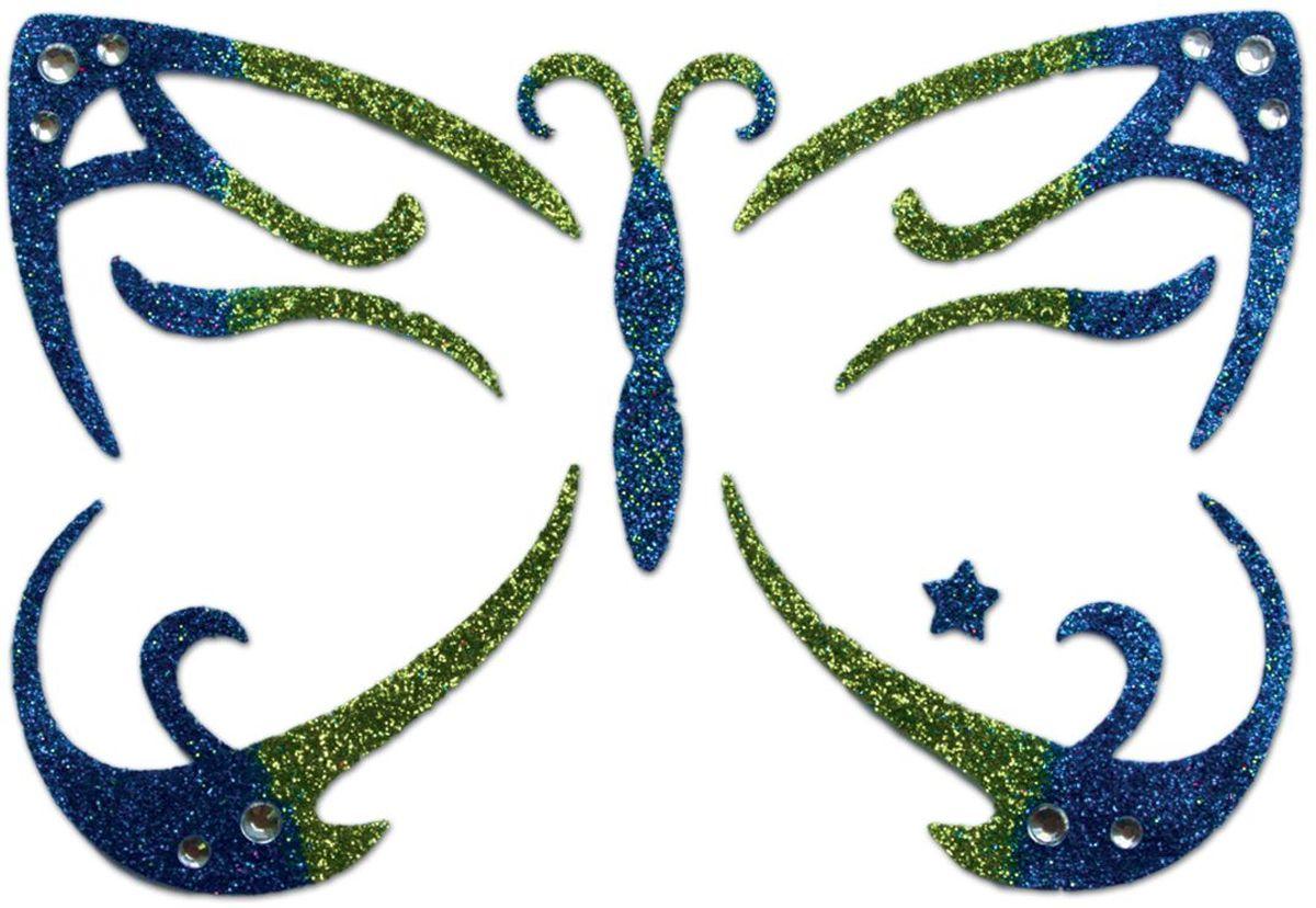 Partymania Украшение-стикер для лица Карнавал Бабочка цвет синий -  Украшение волос, лица и тела