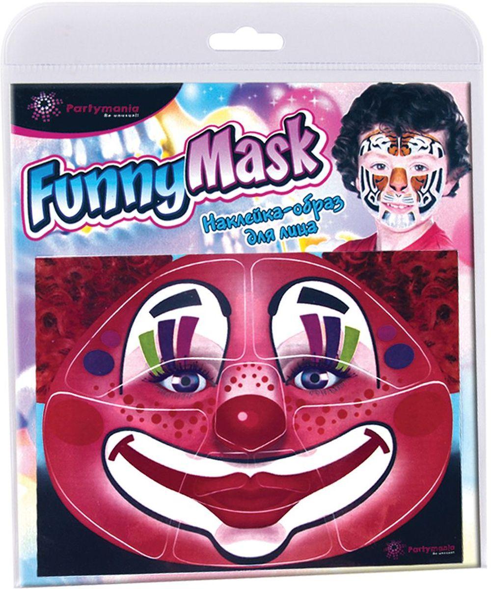 Partymania Наклейка-образ для лица Funny Mask Клоун -  Украшение волос, лица и тела