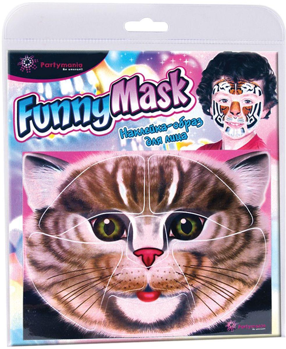 Partymania Наклейка-образ для лица Funny Mask Кот -  Украшение волос, лица и тела
