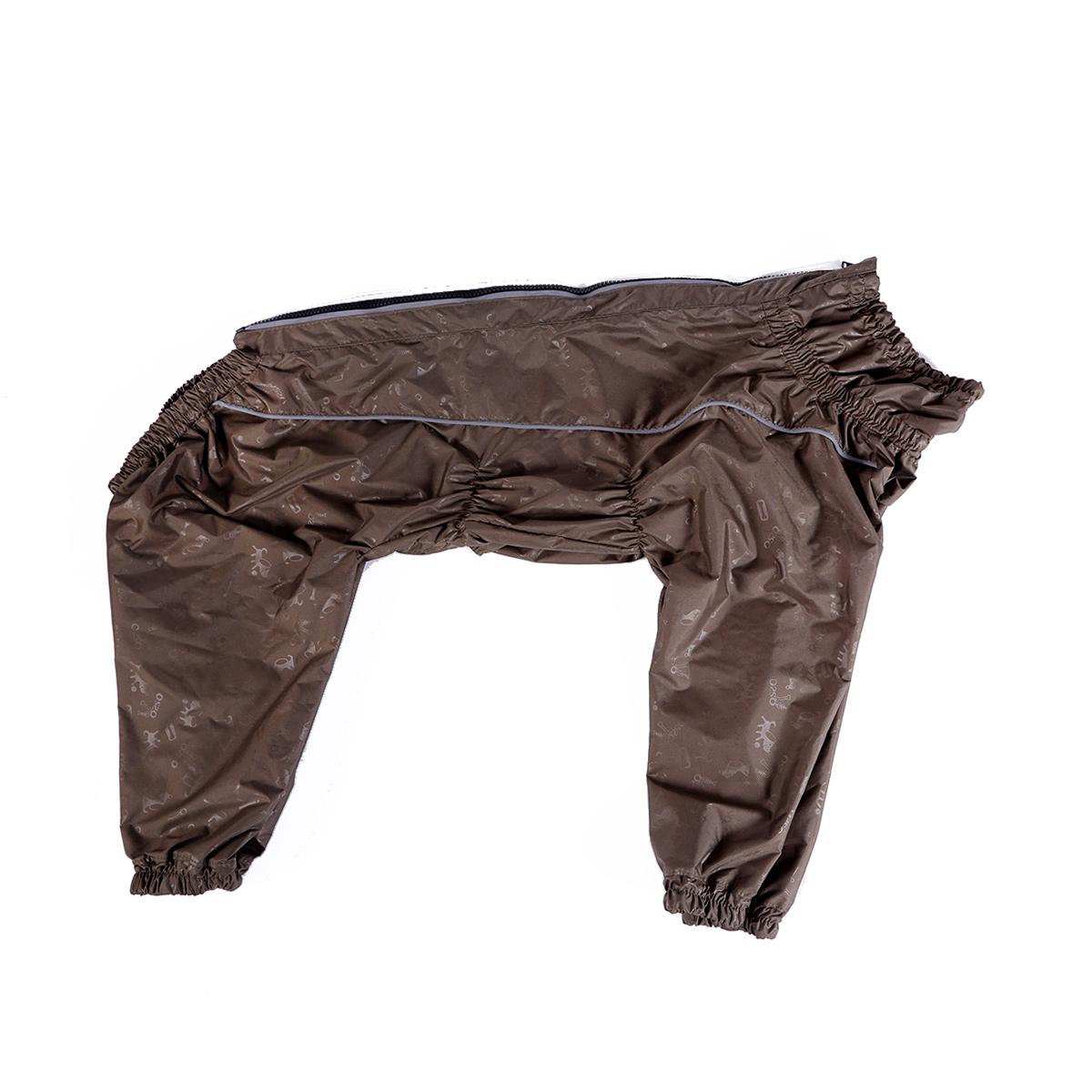 Комбинезон для собак OSSO Fashion, для мальчика, цвет: хаки. Размер 600120710Комбинезон для собак без подкладки из водоотталкивающей и ветрозащитной ткани (100% полиэстер).Предназначен для прогулок в межсезонье, в сырую погоду для защиты собаки от грязи и воды.В комбинезоне используется отделка со светоотражающим кантом и тракторная молния со светоотражающей полосой.Комбинезон для собак эргономичен, удобен, не сковывает движений собаки при беге, во время игры и при дрессировке. Комфортная посадка по корпусу достигается за счет резинок-утяжек под грудью и животом. На воротнике имеется кнопка для фиксации. От попадания воды и грязи внутрь комбинезона низ штанин также сборен на резинку.Рекомендуется машинная стирка с использованием средства для стирки деликатных тканей при температуре не выше 40?С и загрузке барабана не более чем на 40% от его объема, отжим при скорости не более 400/500 об/мин, сушка на воздухе – с целью уменьшения воздействия на водоотталкивающую (PU) пропитку ткани. Рекомендации по подбору размера: Размер подбирается по длине спины собаки. Она измеряется от холки (от места где сходятся лопатки) до основания хвоста, в стоячем положении. Предупреждение: не измеряйте длину спины от шеи, только от холки.