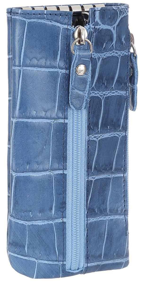 Ключница женская Esse Грета Elite, цвет: синий. GGRT00-00ML00-FG108S-K10039864|Серьги с подвескамиОригинальная ключница Esse Грета Elite изготовлена из натуральной кожи и оформлена тиснением под крокодила. Модель застёгивается на застёжку-молнию. Внутри ключницы расположены шесть металлических крючков для крепления ключей. Сбоку расположен дополнительный врезной карман на молнии.Этот аксессуар станет замечательным подарком человеку, ценящему качественные и практичные вещи.