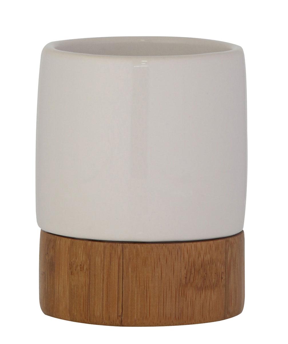 Стакан для ванной комнаты Axentia Bonja Premium, высота 9,5 см68/5/3Стакан для ванной комнаты Axentia Bonja Premium выполнен из прекрасного сочетания экологически чистого бамбука, устойчивого к высокой влажности, и натуральной белой керамики. Изделие превосходно дополнит интерьер ванной комнаты, отлично сочетается с другими аксессуарами из коллекции Bonja Premium.Высота стакана: 9,5 см.Диаметр стакана: 7,5 см.