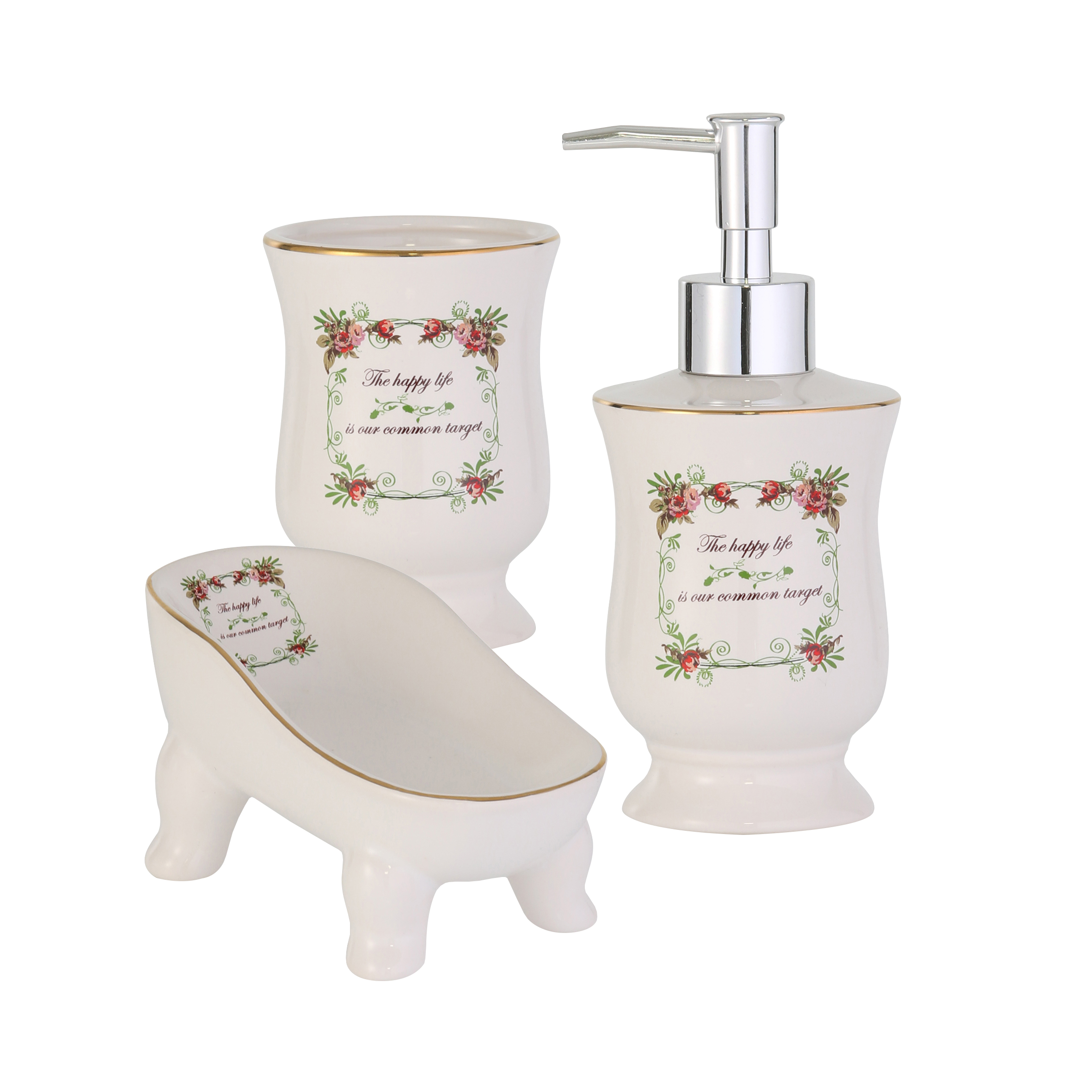 Набор для ванной комнаты Axentia, 3 предмета40366001Набор для ванной комнаты Axentia, выполненный из натуральной и элегантной керамики, состоит из стакана для зубных щеток, дозатора для жидкого мыла и мыльницы. Изделия декорированы оригинальным принтом в стиле Прованс.Аксессуары, входящие в набор Axentia, выполняют не только практическую, но и декоративную функцию. Они способны внести в помещение изысканность, сделать пребывание в нем приятным и даже незабываемым.