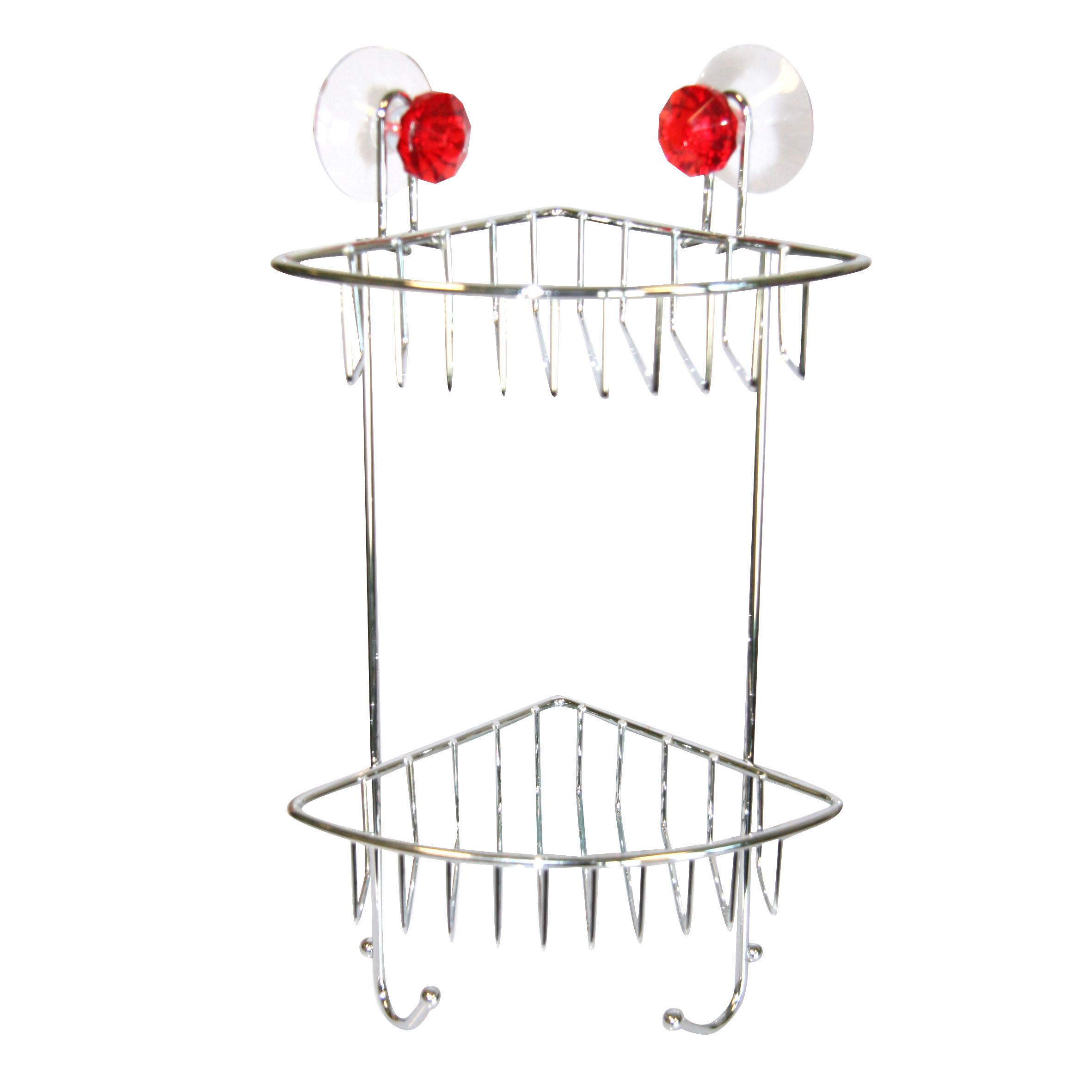 Полка для ванной Top Star Kristall, угловая, двухъярусная, на присосках, цвет: красный, стальной, 14 х 19 х 34 см280884Угловая полка для ванной Top Star Kristall изготовлена из стали с качественным хромированным покрытием, которое надолго защитит изделие от ржавчины в условиях высокой влажности в ванной комнате. Изделие имеет два яруса и крепится к стене с помощью четырех присосок. Снизу расположены два крючка. Благодаря классическому дизайну и оптимальной вместимости такая полка подойдет для любого интерьера ванной комнаты или кухни.