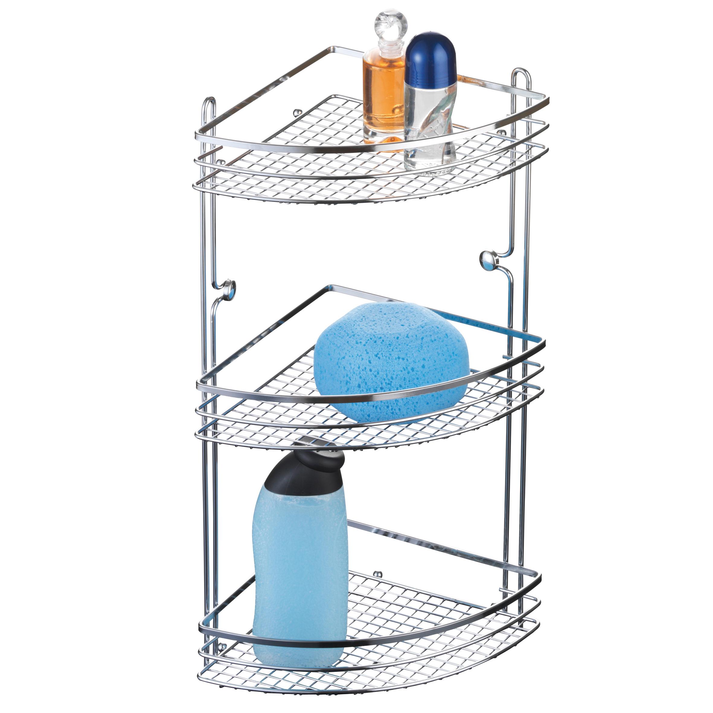 Полка для ванной Axentia Cassandra, угловая, трехъярусная, 20 х 28 х 46 см531-105Трехъярусная полка для ванной Axentia Cassandra изготовлена из стали с качественным хромированным покрытием, которое на долго защитит изделие от ржавчины в условиях высокой влажности в ванной комнате. Изделие крепится на стену с помощью шурупов (входят в комплект). Классический дизайн и оптимальная вместимость подойдет для любого интерьера ванной комнаты или кухни.Размер полки: 20 х 28 х 46 см.