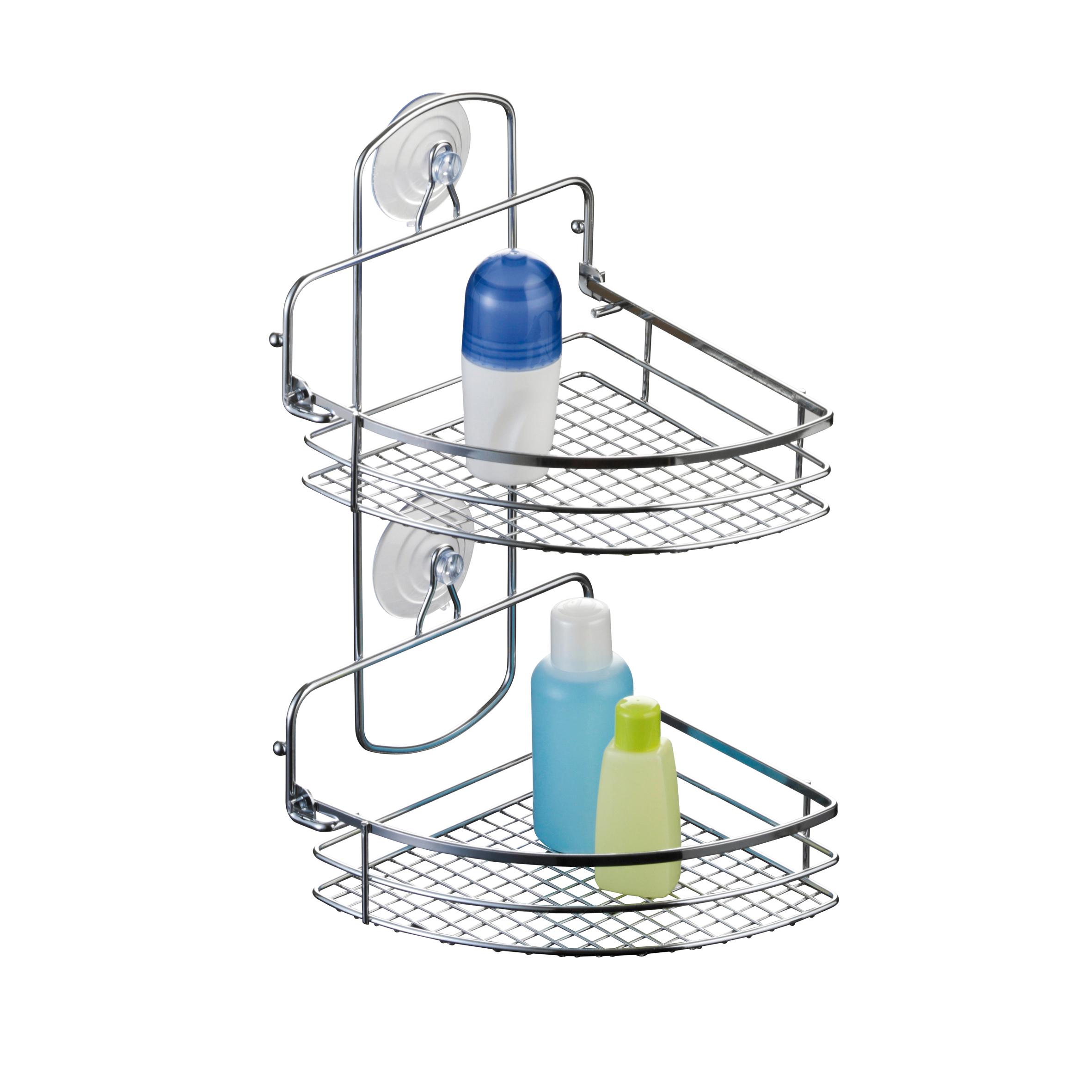 Полка для ванной Axentia Cassandra, угловая, двухъярусная, 20 х 27 х 37 см391602Двухъярусная полка для ванной Axentia Cassandra изготовлена из стали с качественным хромированным покрытием, которое на долго защитит изделие от ржавчины в условиях высокой влажности в ванной комнате. Изделие имеет угловую конструкцию и два вида крепления: на присосках или на шурупах (входят в комплект). Классический дизайн и оптимальная вместимость подойдет для любого интерьера ванной комнаты или кухни.Размер полки: 29,5 х 11 х 46 см.