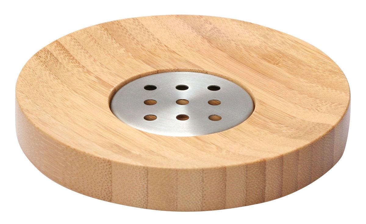 Мыльница Axentia Bonja, диаметр 12,5 см68/5/1Мыльница Axentia Bonja изготовлена из натурального экологически чистого бамбука, устойчивого к повышенной влажности, с элементами из нержавеющей стали. Отлично сочетается с другими аксессуарами из коллекции Bonja.Диаметр мыльницы: 12,5 см.Высота мыльницы: 2 см.
