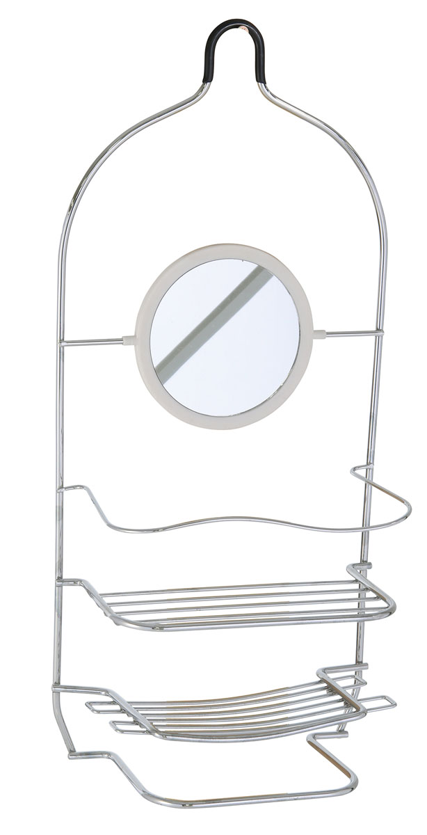 Полка для ванной Axentia, прямая, двухъярусная, с зеркалом и полотенцедержателем, цвет: хром, 20,5 х 10,7 х 45,5 см391602Полка для ванной комнаты прямая двух ярусная с зеркалом и полотенцедержателем. Изготовлена из стали с качественным хромированным покрытием, которое на долго защитит изделие от ржавчины в условиях высокой влажности в ванной комнате.