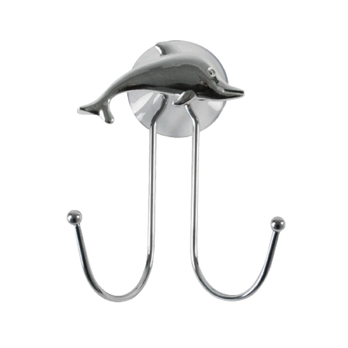 Крючок Top Star Silver Dolphin, двойной, на присоске, цвет: хром68/5/3Крючок двойной настенный на присоске с декором серебристый дельфин. Подходит для полотенец, мочалок, халатов и других ванных принадлежностей. Крепится на присоску, в комплекте. Выдерживает вес до 2-х килограмм на гладкой, воздухонепроницаемой, очищенной и обезжиренной поверхности. Крючок изготовлен из высококачественной хромированной стали, устойчивой к высокой влажности. Отлично сочетается с другими аксессуарами из коллекции Silver Dolphin.