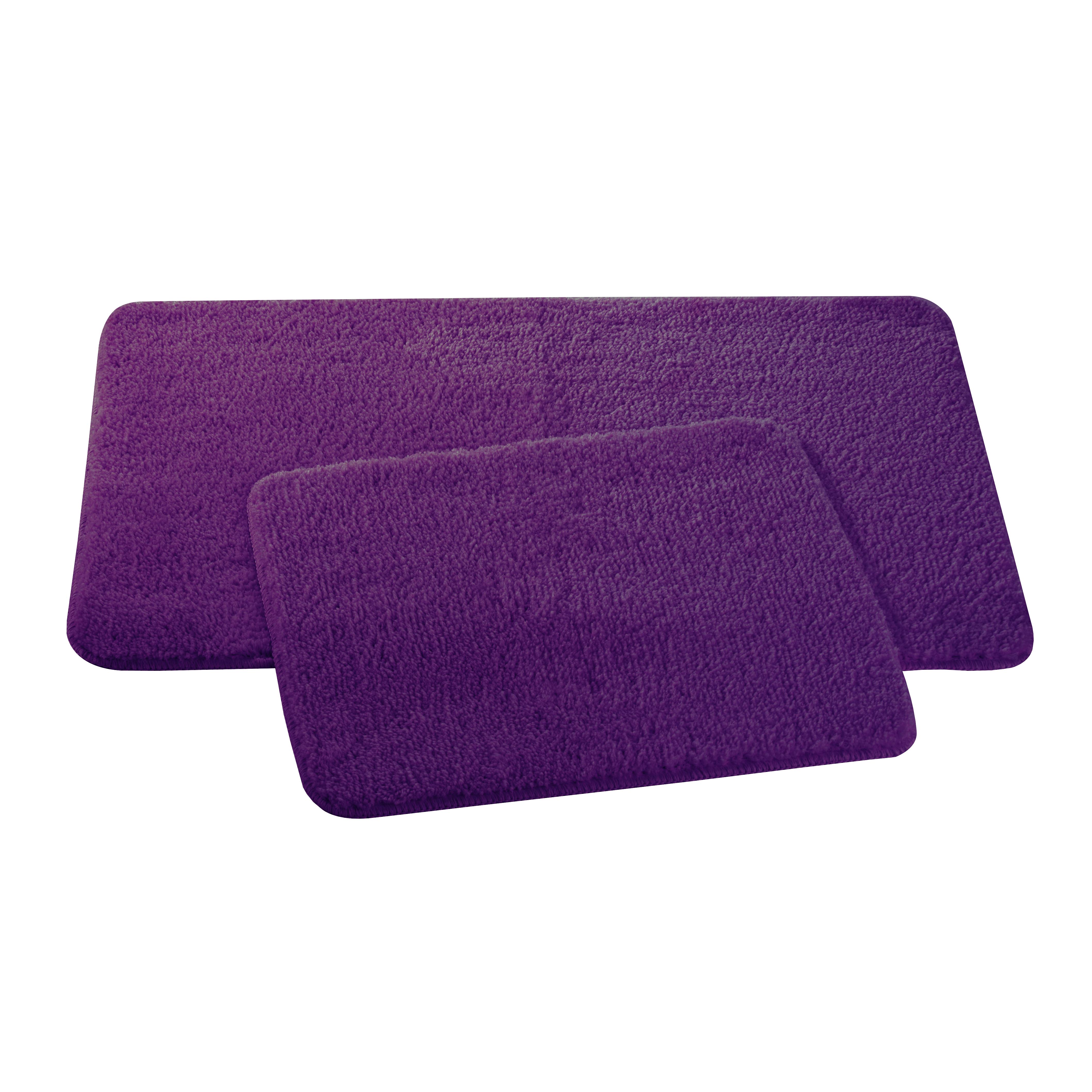 Набор ковриков для ванной и туалета Axentia, цвет: фиолетовый, 2 штS03301004Набор Axentia, выполненный из микрофибры (100% полиэстер), состоит из двух стеганых ковриков для ванной комнаты и туалета. Противоскользящее основание изготовлено из термопластичной резины и подходит для полов с подогревом. Коврики мягкие и приятные на ощупь, отлично впитывают влагу и быстро сохнут. Высокая износостойкость ковриков и стойкость цвета позволит вам наслаждаться покупкой долгие годы. Можно стирать в стиральной машине. Размер ковриков: 50 х 80 см; 50 х 40 см.Высота ворса 1,5 см.