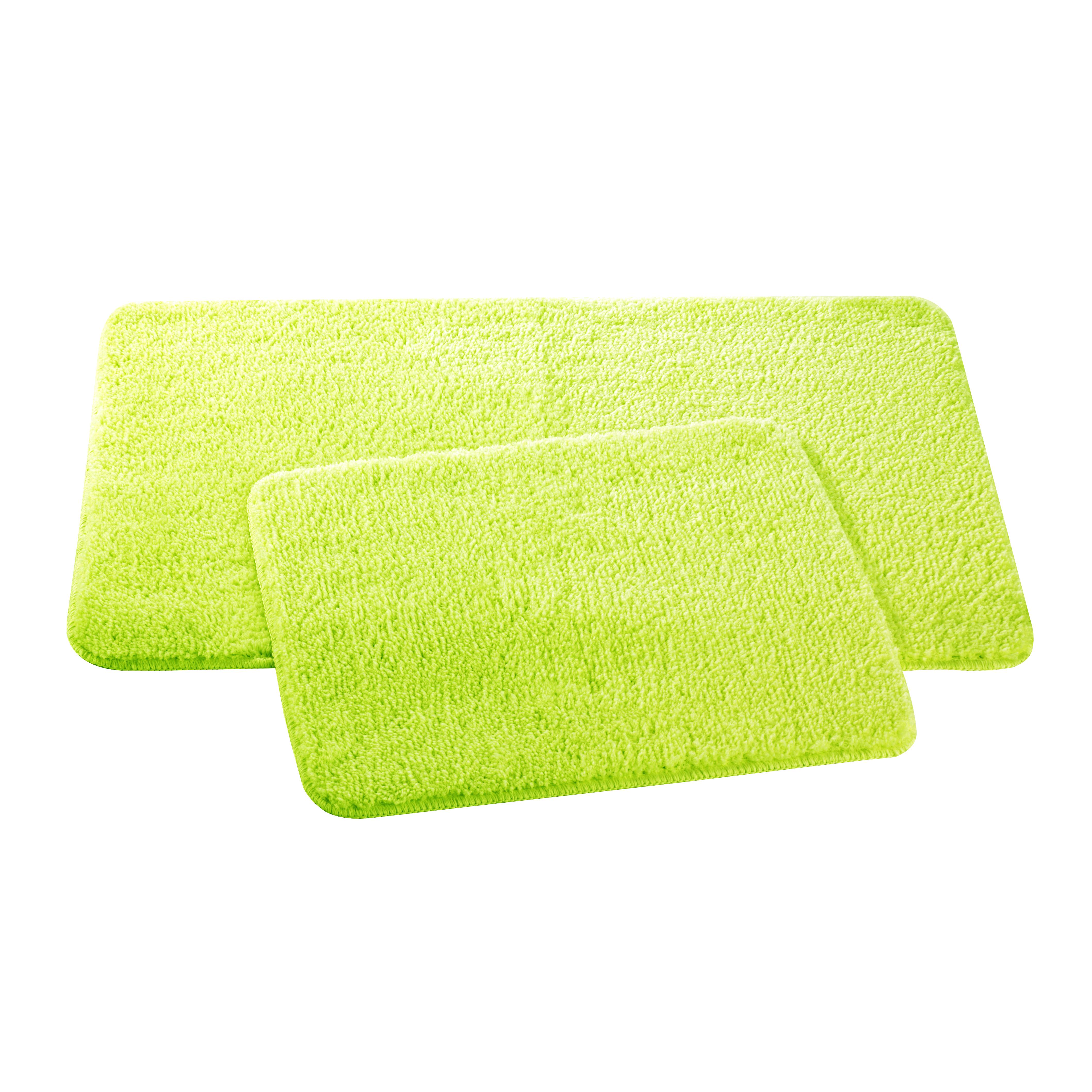 Набор ковриков для ванной и туалета Axentia, цвет: мятный, 2 штNN-605-LS-WНабор Axentia, выполненный из микрофибры (100% полиэстер), состоит из двух стеганых ковриков для ванной комнаты и туалета. Противоскользящее основание изготовлено из термопластичной резины и подходит для полов с подогревом. Коврики мягкие и приятные на ощупь, отлично впитывают влагу и быстро сохнут. Высокая износостойкость ковриков и стойкость цвета позволит вам наслаждаться покупкой долгие годы. Можно стирать в стиральной машине. Размер ковриков: 50 х 80 см; 50 х 40 см.Высота ворса 1,5 см.