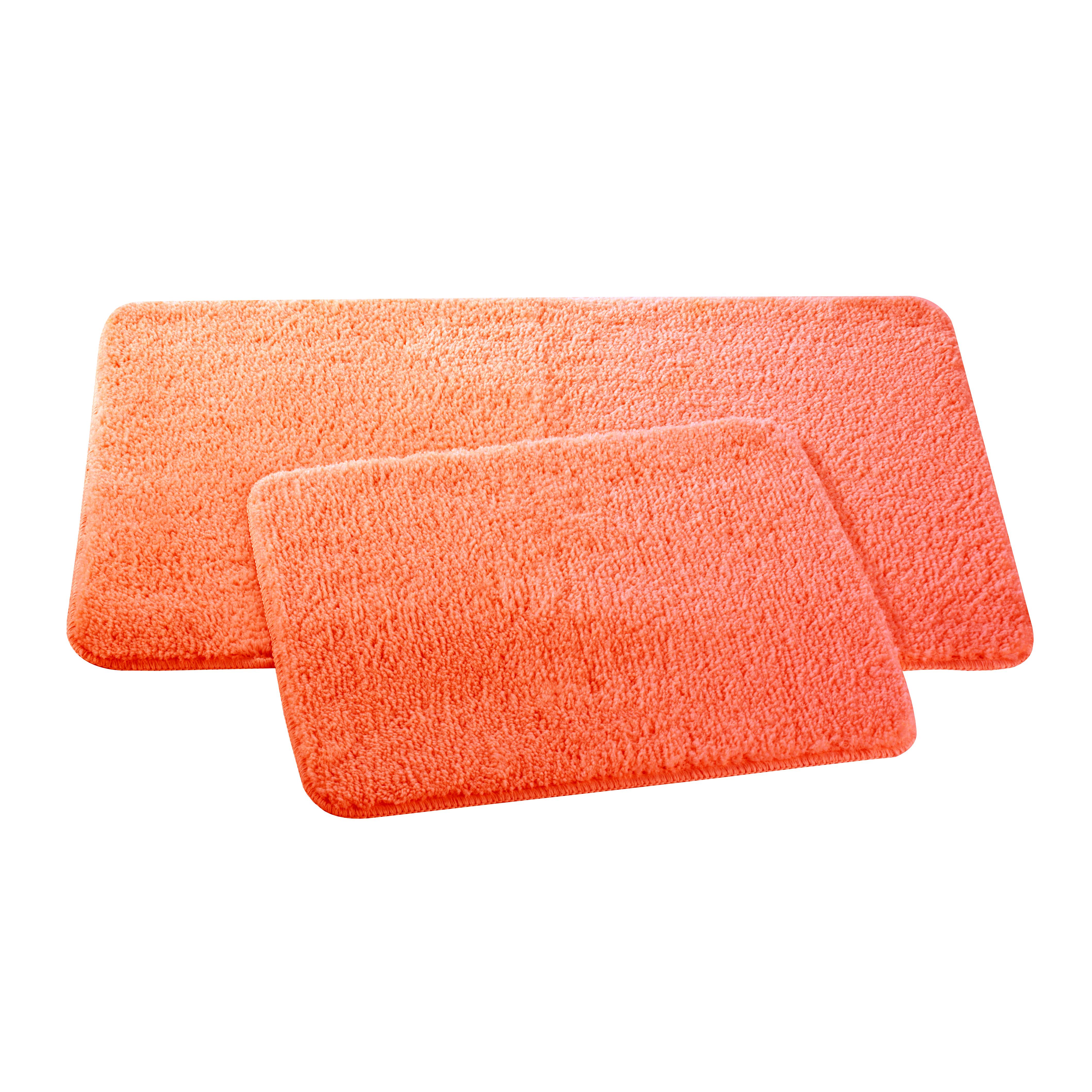 Набор ковриков для ванной и туалета Axentia, цвет: оранжевый, 2 штCLP446Набор Axentia, выполненный из микрофибры (100% полиэстер), состоит из двух стеганых ковриков для ванной комнаты и туалета. Противоскользящее основание изготовлено из термопластичной резины и подходит для полов с подогревом. Коврики мягкие и приятные на ощупь, отлично впитывают влагу и быстро сохнут. Высокая износостойкость ковриков и стойкость цвета позволит вам наслаждаться покупкой долгие годы. Можно стирать в стиральной машине. Размер ковриков: 50 х 80 см; 50 х 40 см.Высота ворса 1,5 см.