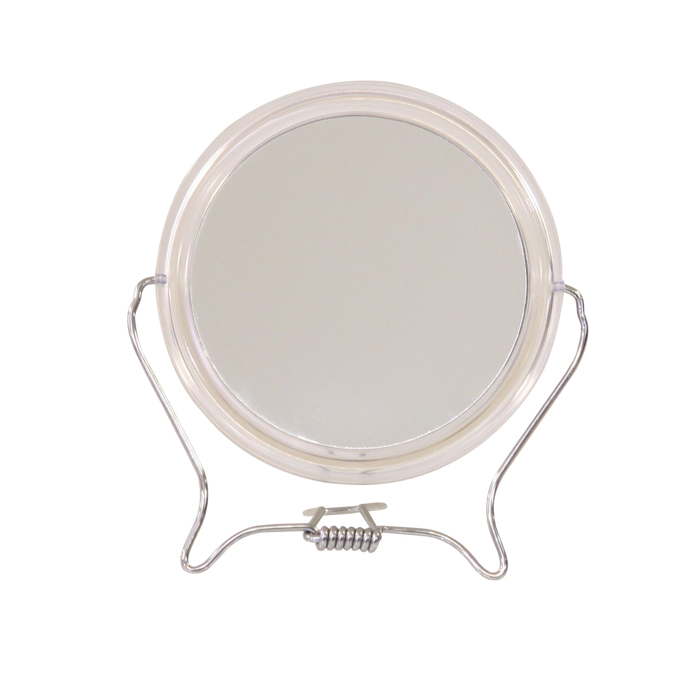 Зеркало косметическое Top Star, настольное, диаметр 12,5 см282806Настольное косметическое зеркало Top Star идеально подходит для нанесения макияжа и совершения различных косметических процедур. Обрамлено в пластиковый ободок, с подставкой из стальной проволоки покрытой хромом.Двухстороннее зеркало с трехкратным увеличением одной из зеркальных линз поможет разглядеть даже малейшие нюансы и устранить все недостатки кожи. Яркий и стильный дизайн делает зеркало отличным подарком родным и близким, оно будет прекрасно смотреться в любом интерьере.