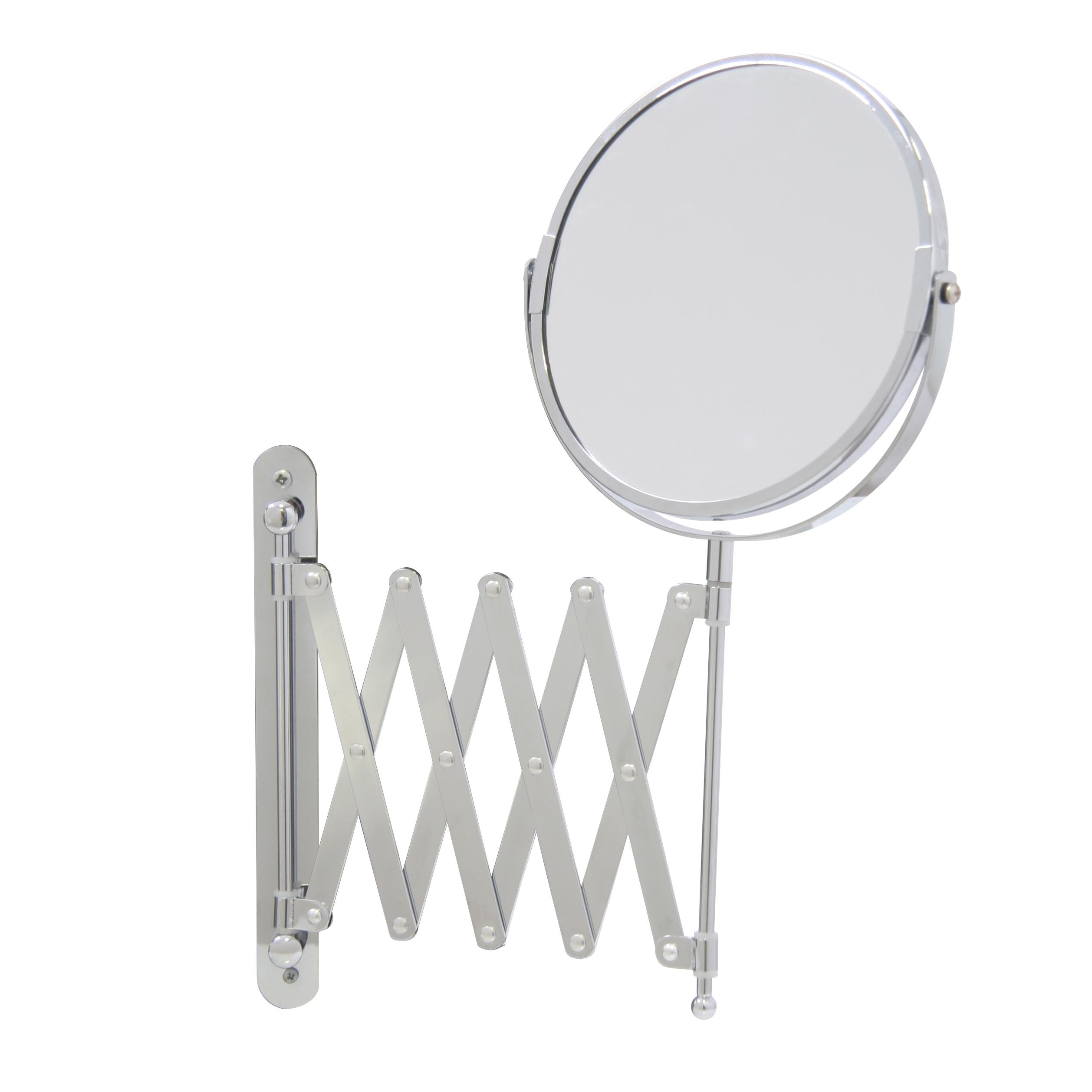 Зеркало косметическое Axentia, настенное, на вытягивающейся ручке, диаметр 17 смFS-80299Двухстороннее косметическое зеркало Axentia с трехкратным увеличением с одной из сторон оснащено ручкой, которая вытягивается на 57 cм. Изделие идеально подойдет для косметических процедур, нанесения и снятия макияжа, коррекции бровей и многого другого.Компактные размеры и возможность разворота на 360 градусов создаст дополнительный комфорт при использовании данного аксессуара.Изделие крепится на стену с помощью шурупов (не входят в комплект).Диаметр зеркала: 17 см.Выдвижение ручки на 57 см.